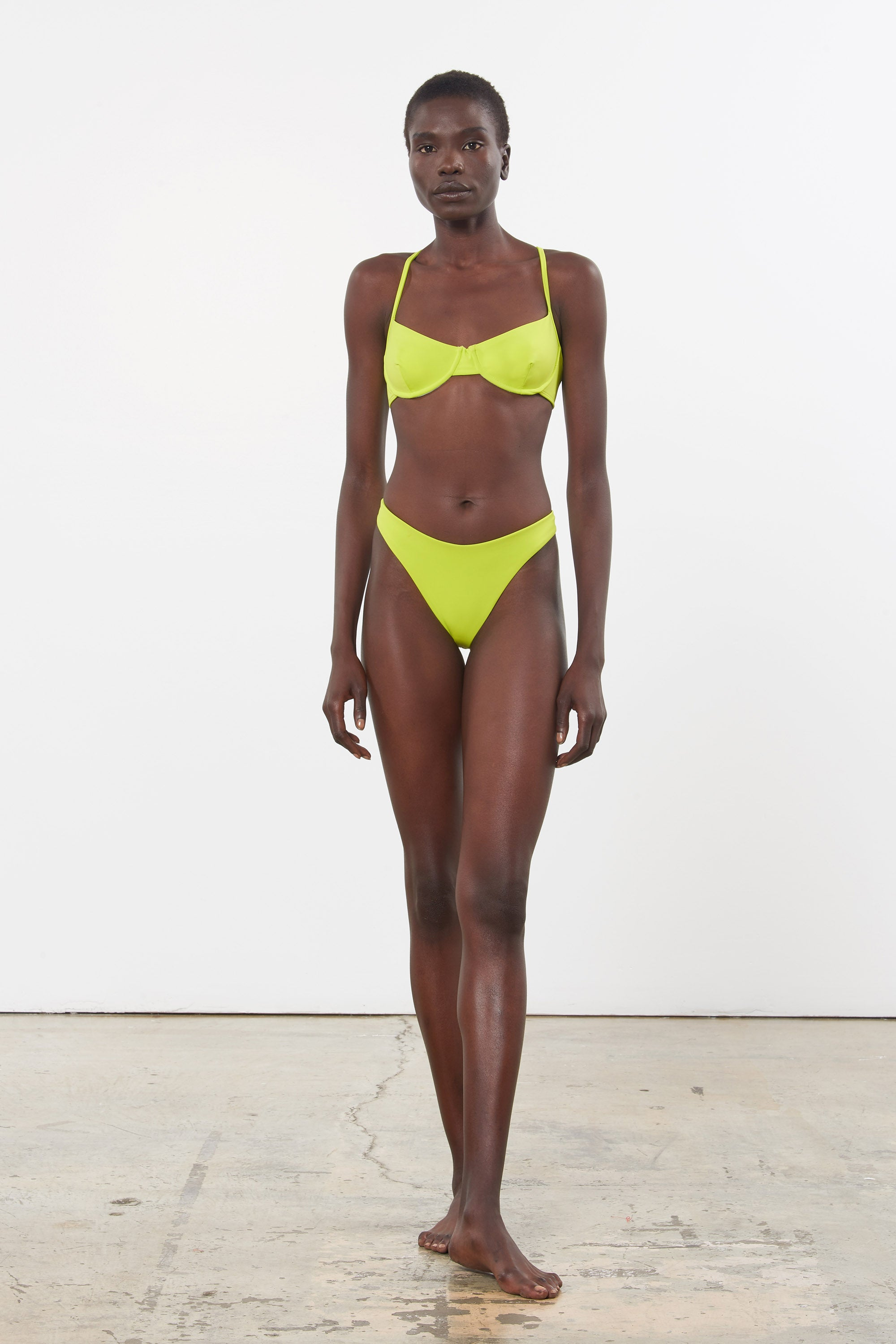 Mara Hoffman Green Reva Bikini Bottom in ECONYL (front)