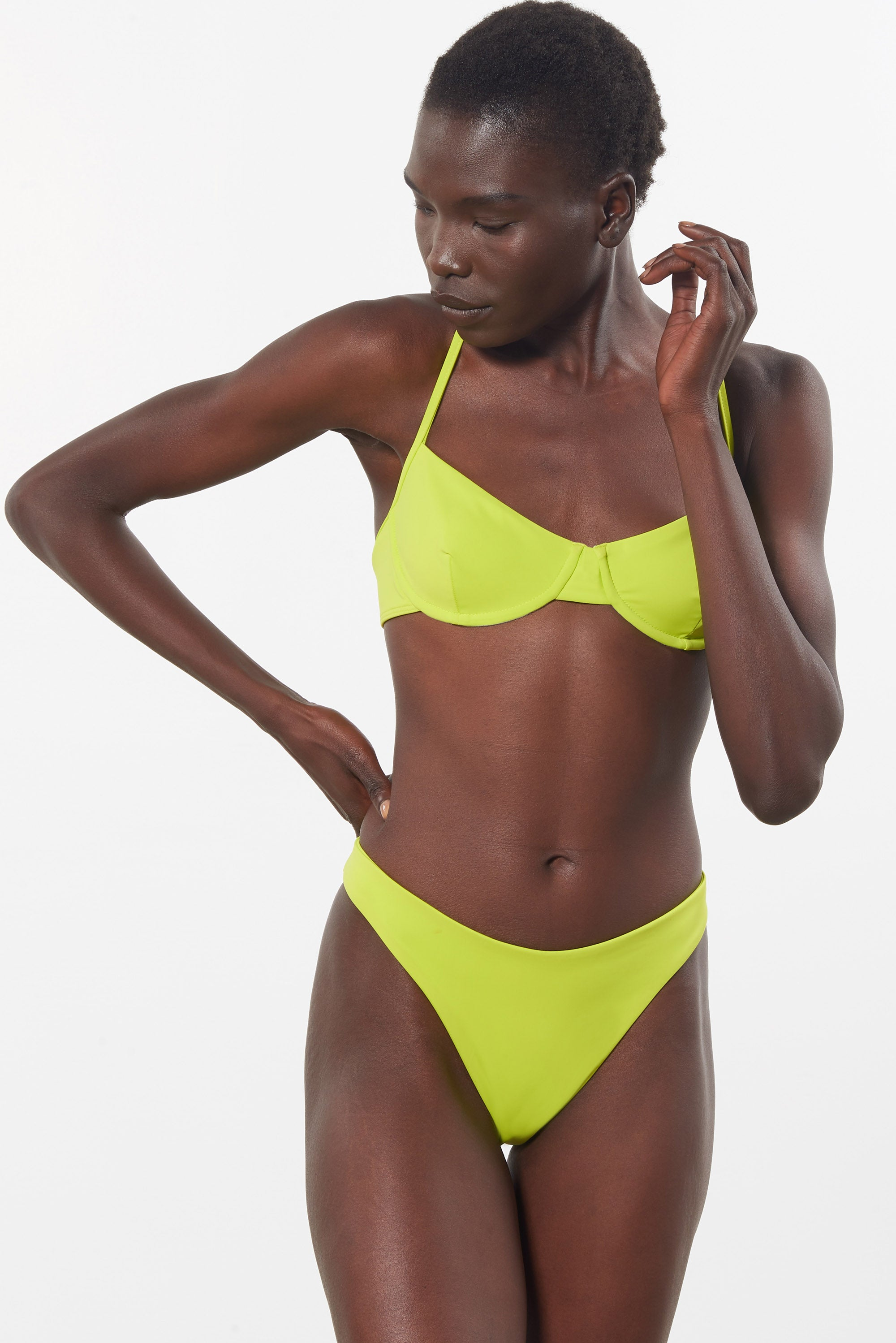 Mara Hoffman Green Reva Bikini Bottom in ECONYL (front detail)