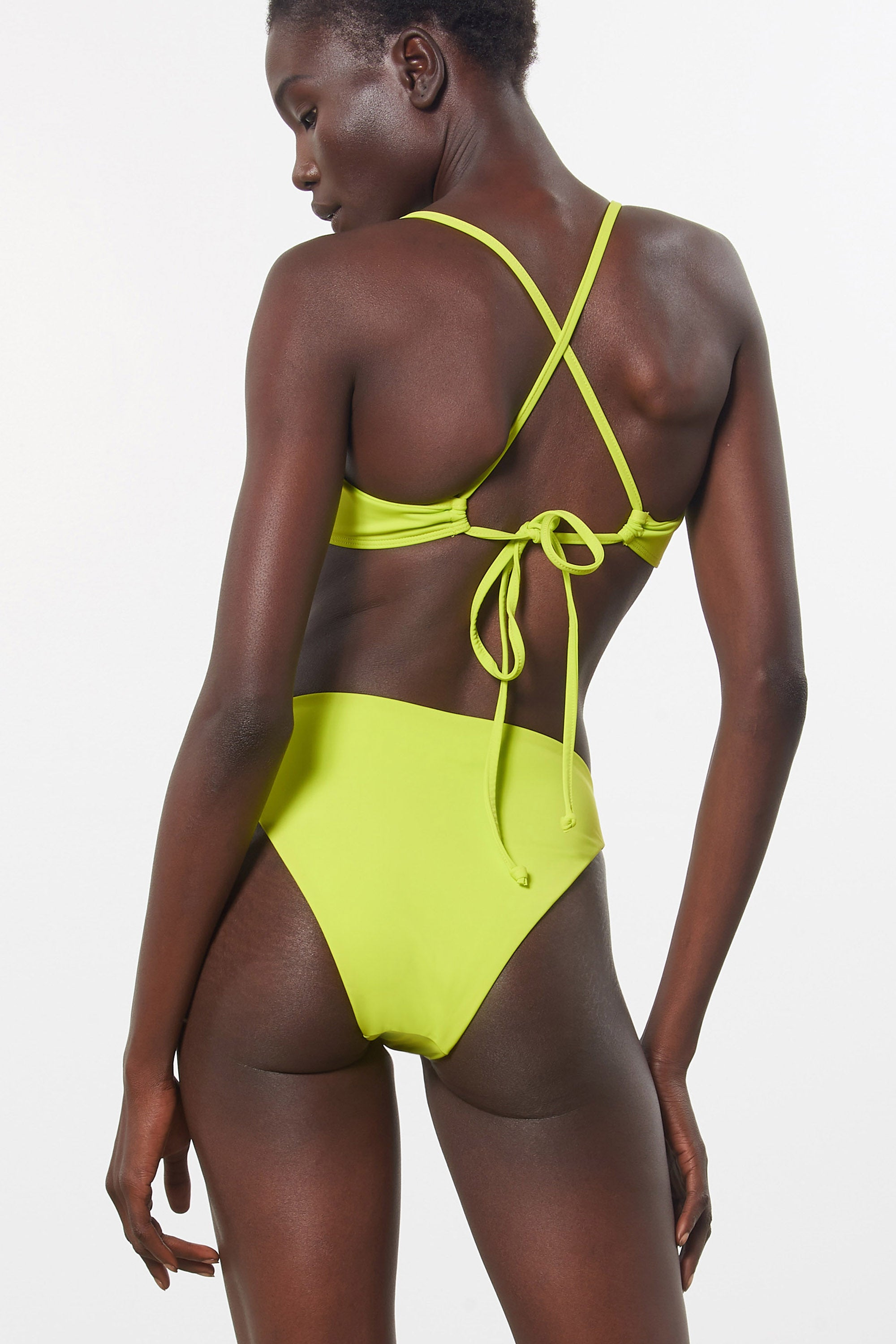 Mara Hoffman Green Mazlyn Bikini Top in Econyl (back detail)