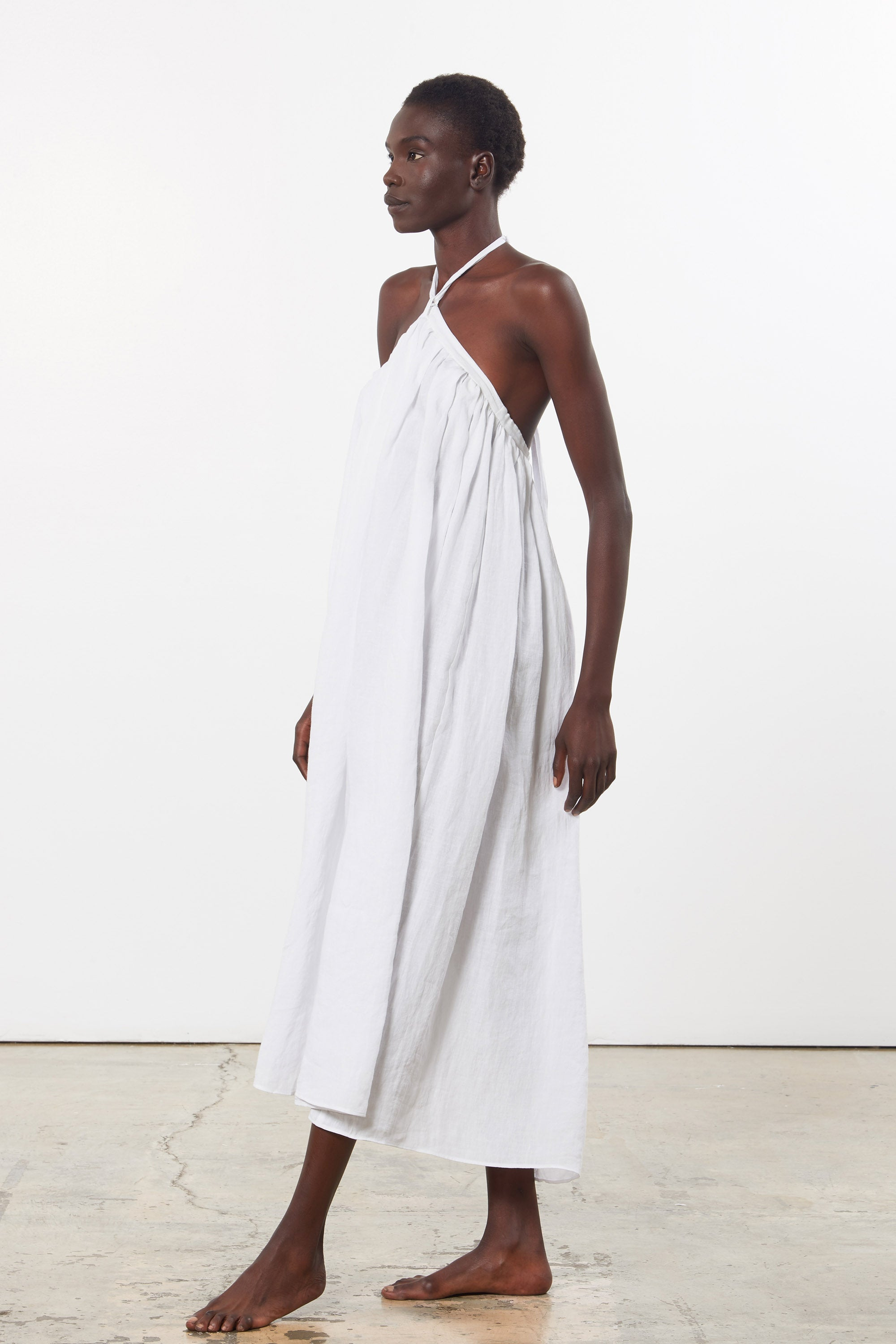 Mara Hoffman White Graziella Cover Up Skirt Dress in linen (side as dress)