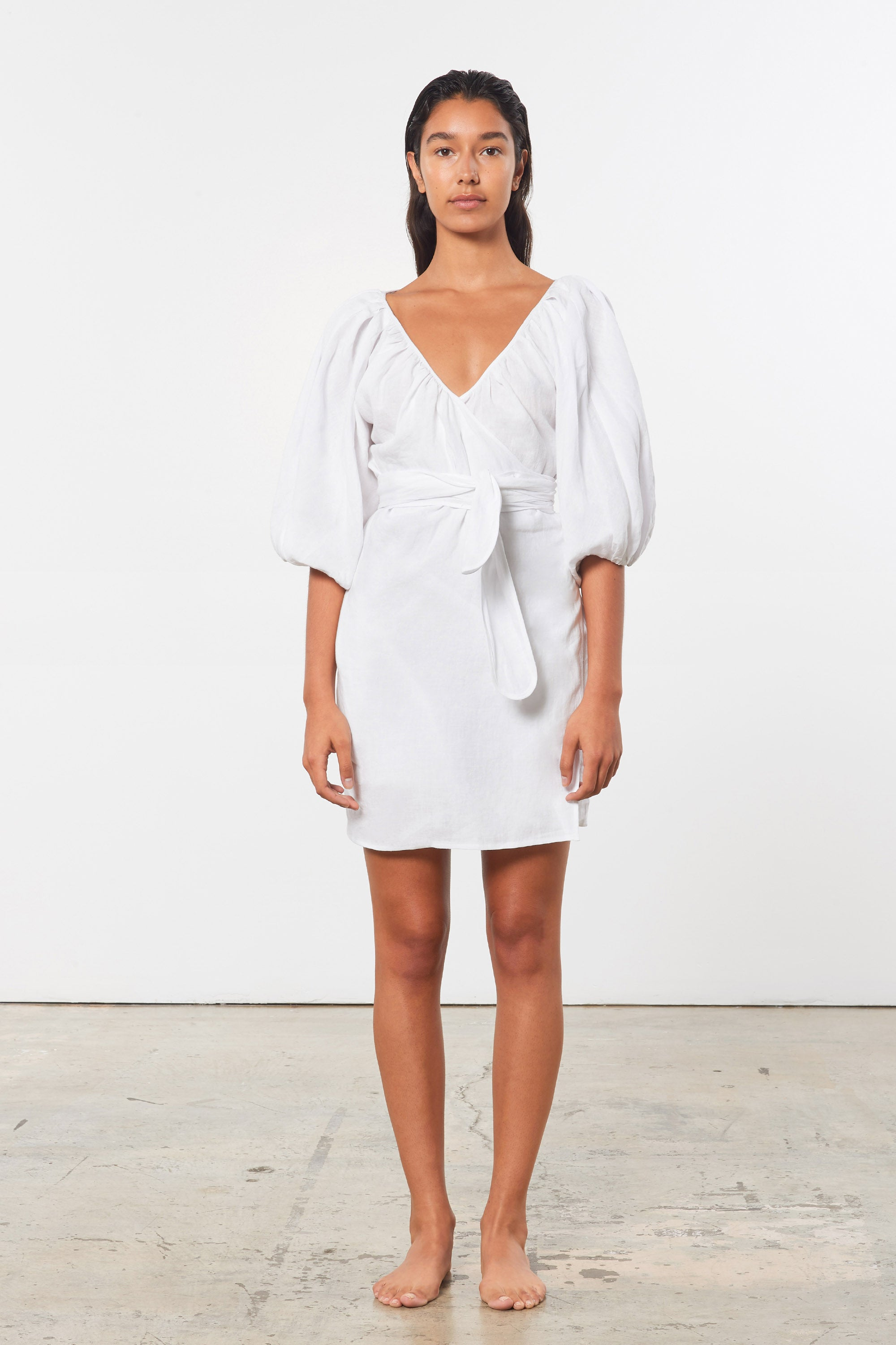 Mara Hoffman White Coletta Cover Up Dress in linen (front)