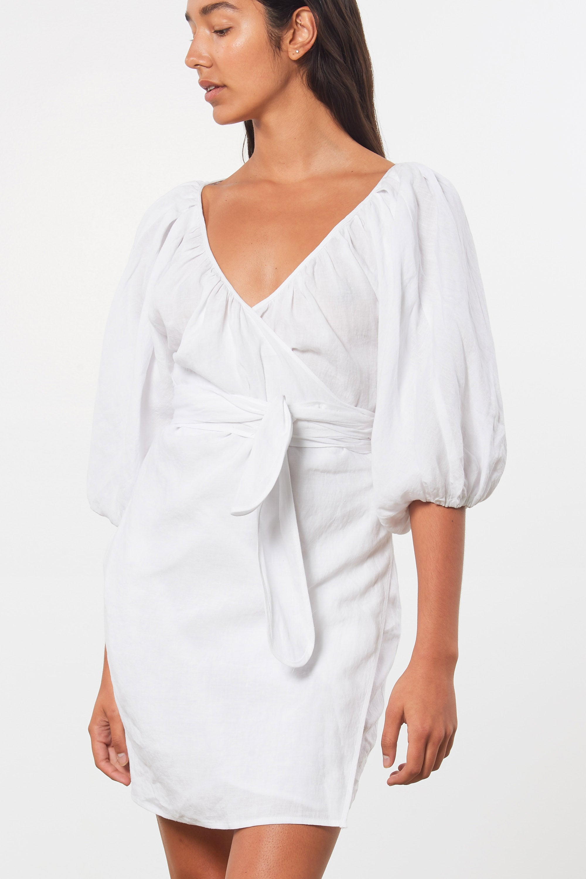 Mara Hoffman White Coletta Cover Up Dress in linen (front detail)