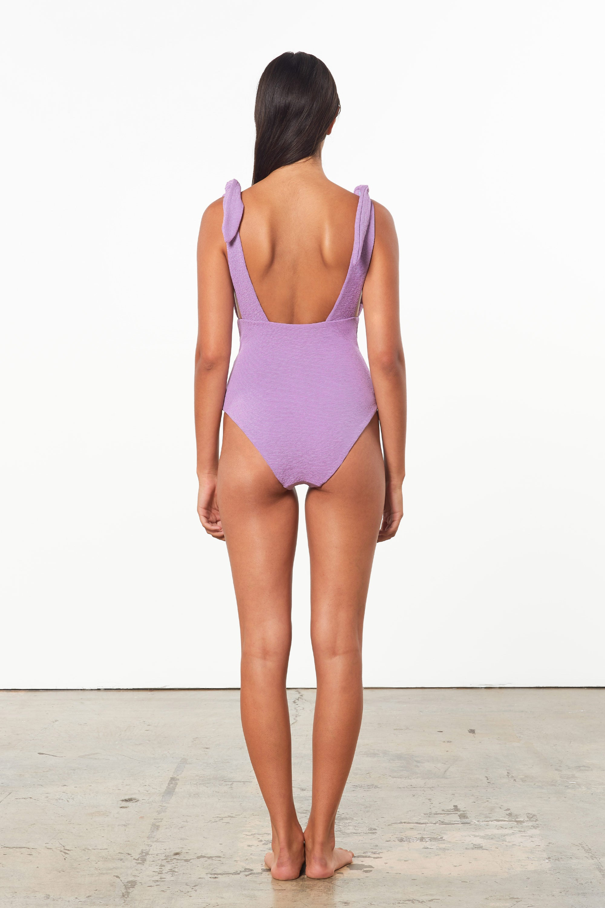 Mara Hoffman Lavender Daphne One Piece in Econyl (back)