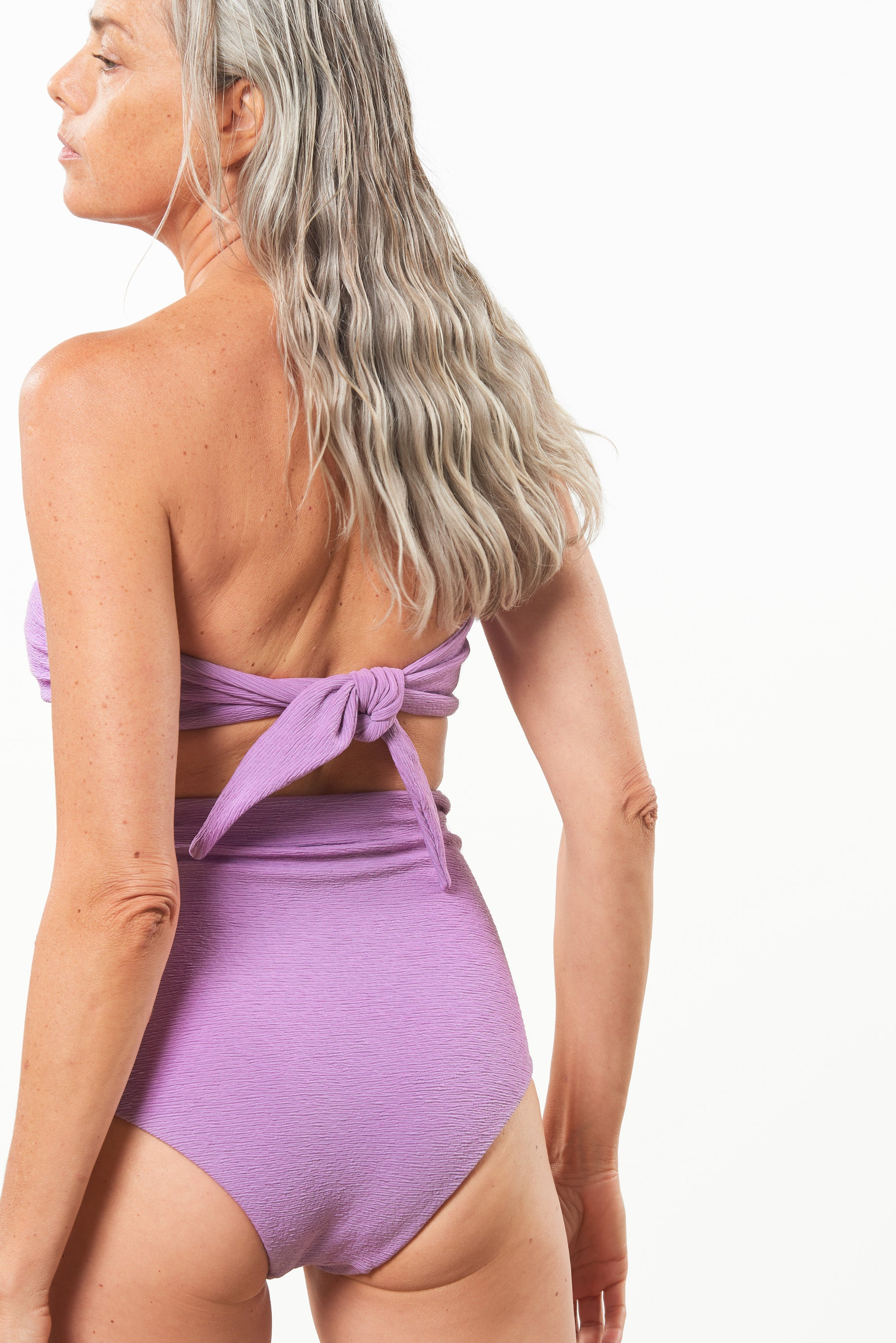 Mara Hoffman Lavender Jay Bikini Bottom in ECONYL (back detail)