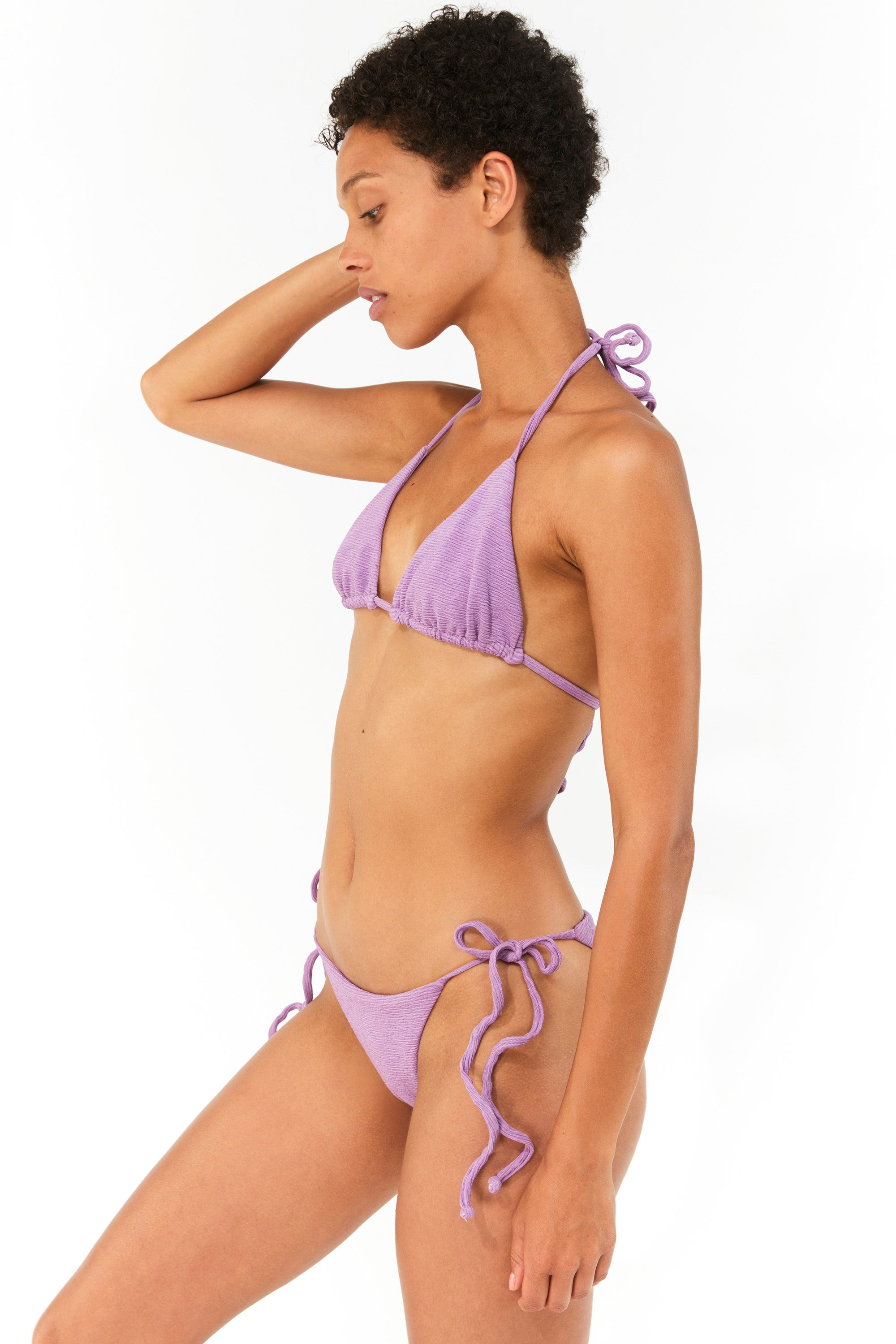 Mara Hoffman Lavender Lei Bikini Bottom in Repreve (side)