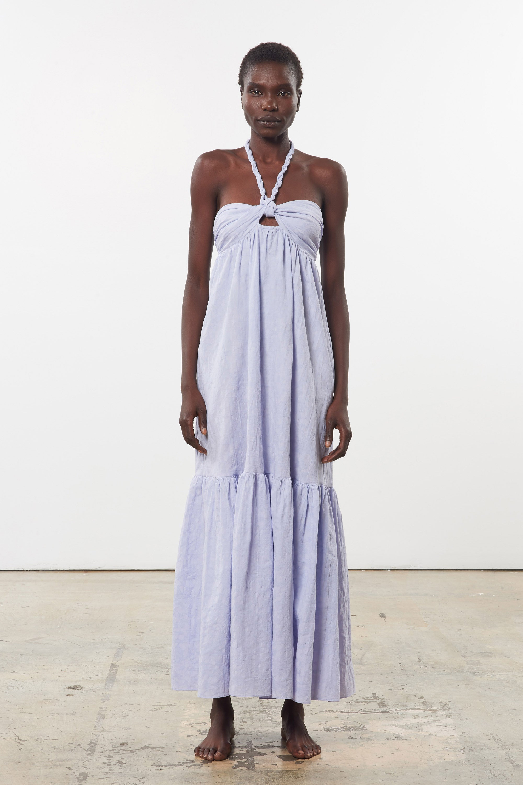 Mara Hoffman Lavender Basilia Cover Up Dress in organic cotton and linen (front)