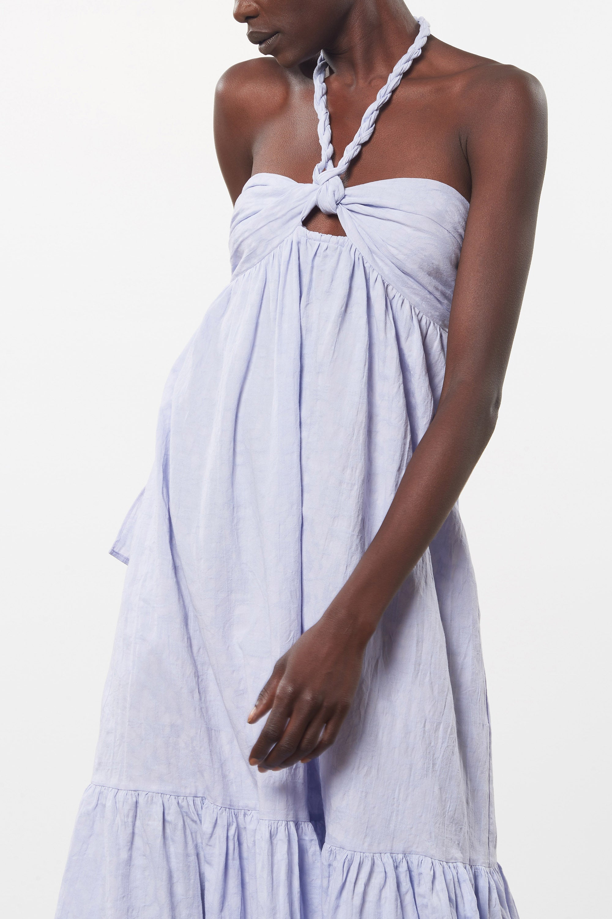 Mara Hoffman Lavender Basilia Cover Up Dress in organic cotton and linen (front detail)