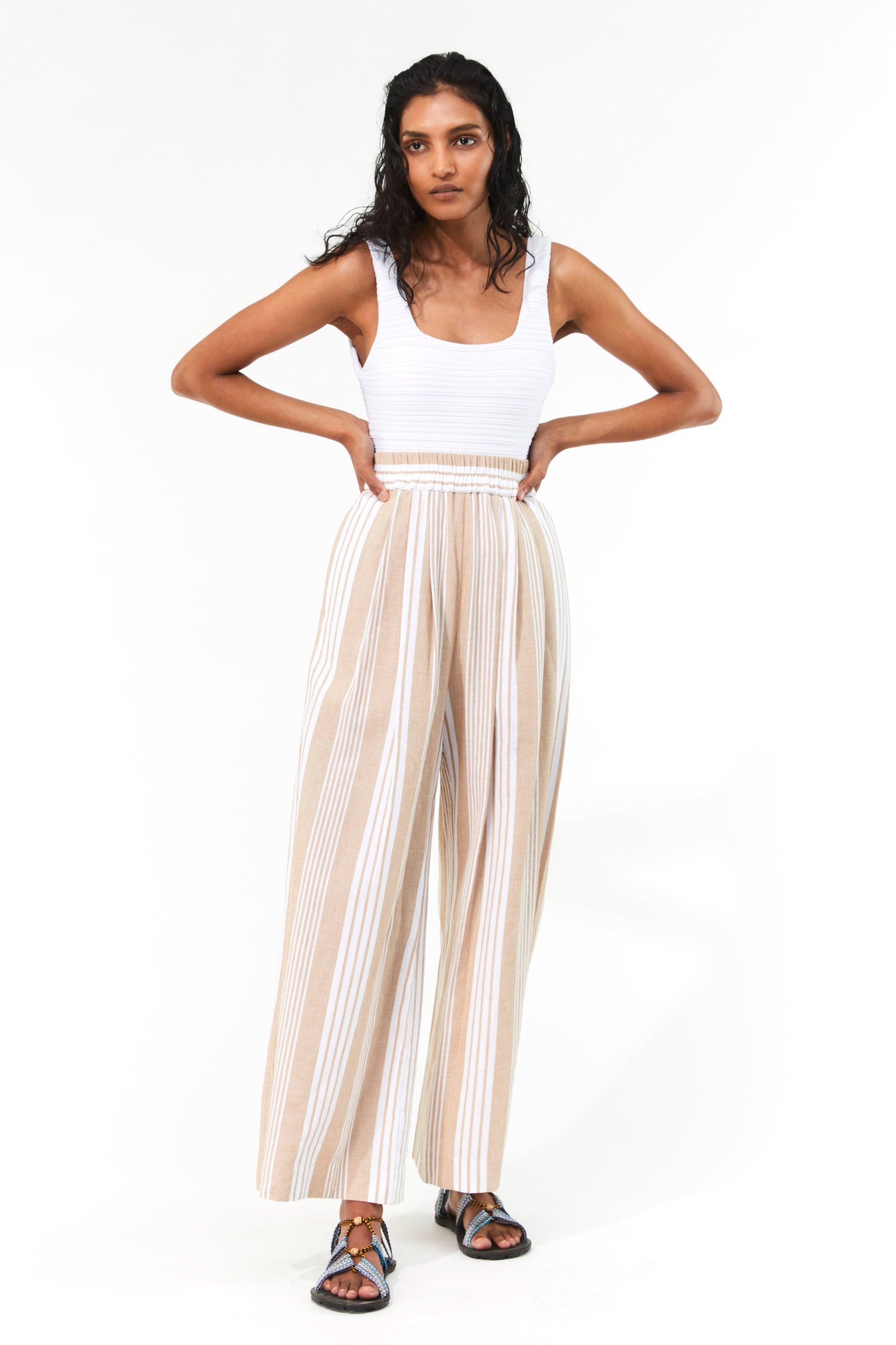 Mara Hoffman White Sand Paloma Cover Up Pant in TENCEL Lyocell and organic cotton (front)
