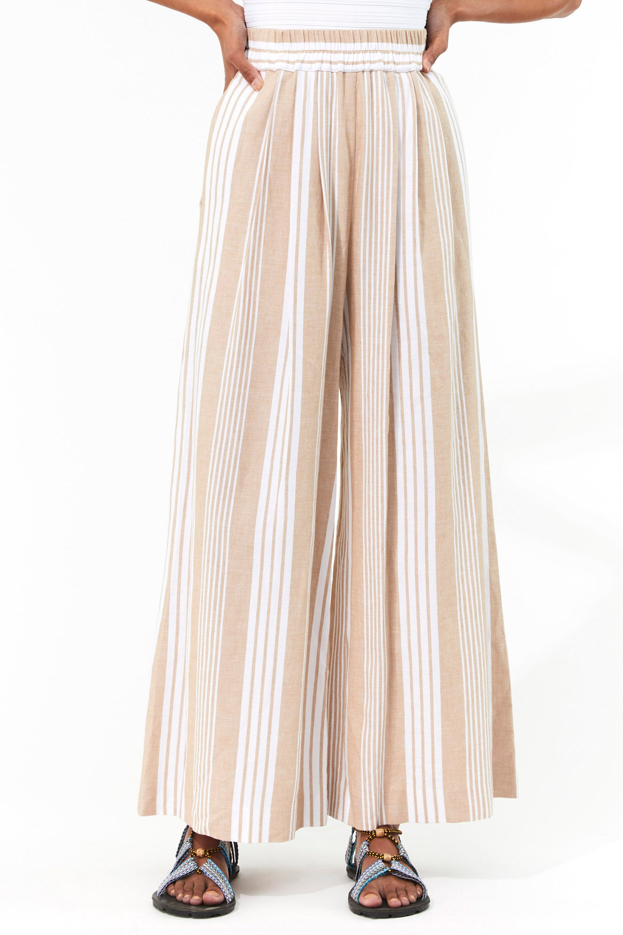 Mara Hoffman White Sand Paloma Cover Up Pant in TENCEL Lyocell and organic cotton (front detail)