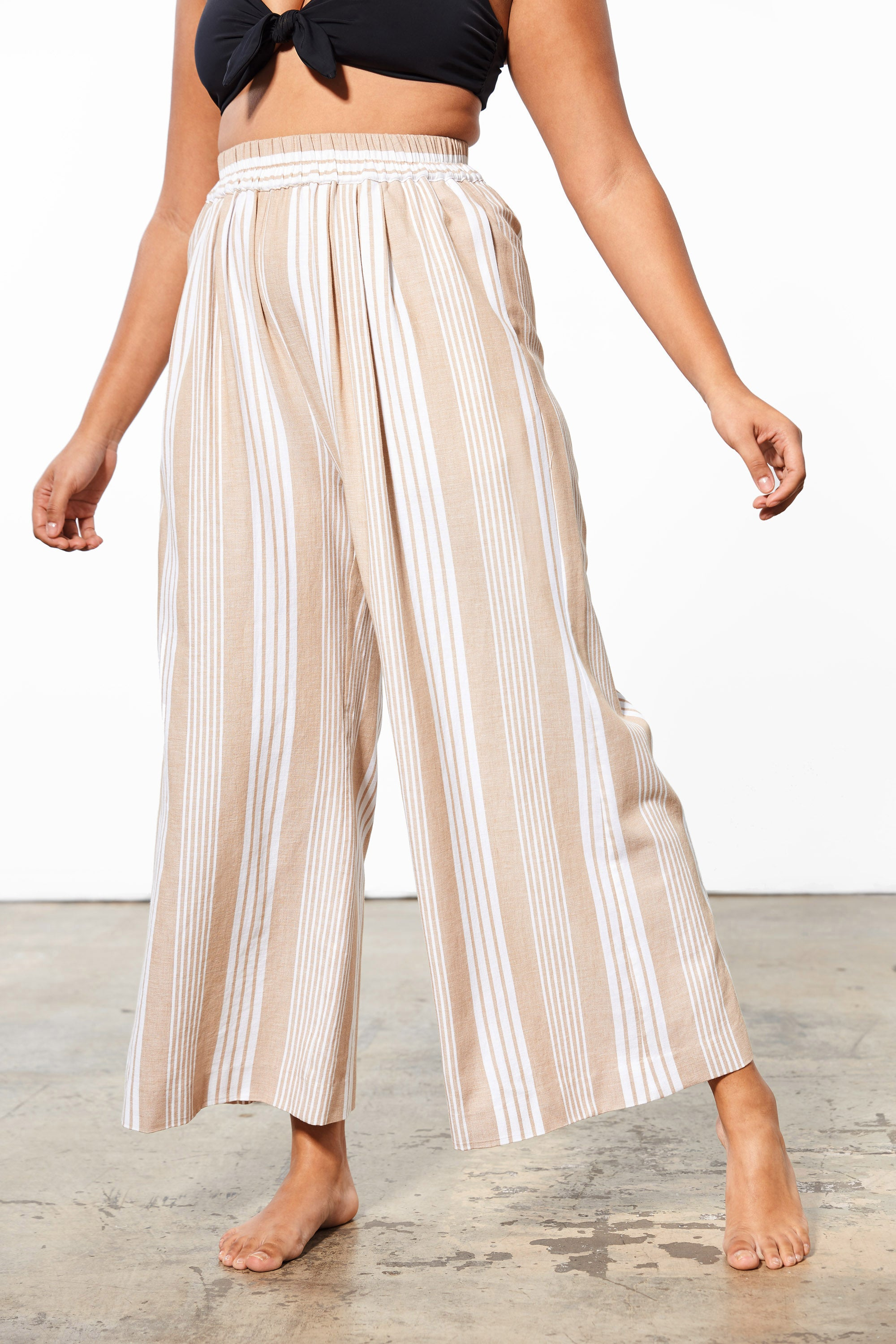 Mara Hoffman Extended White Sand Paloma Cover Up Pant in TENCEL Lyocell and organic cotton (front detail)