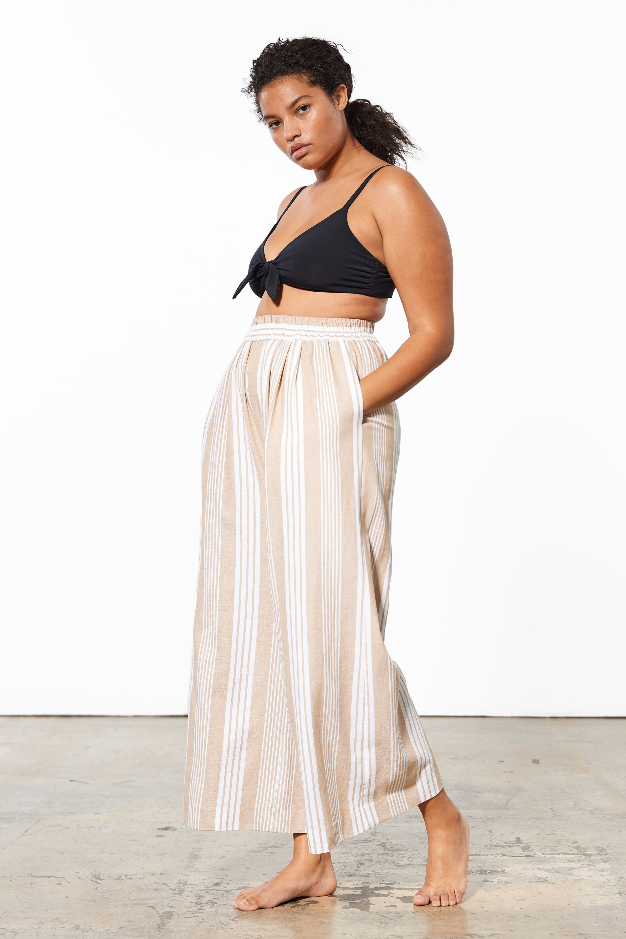 Mara Hoffman Extended White Sand Paloma Cover Up Pant in TENCEL Lyocell and organic cotton (side)