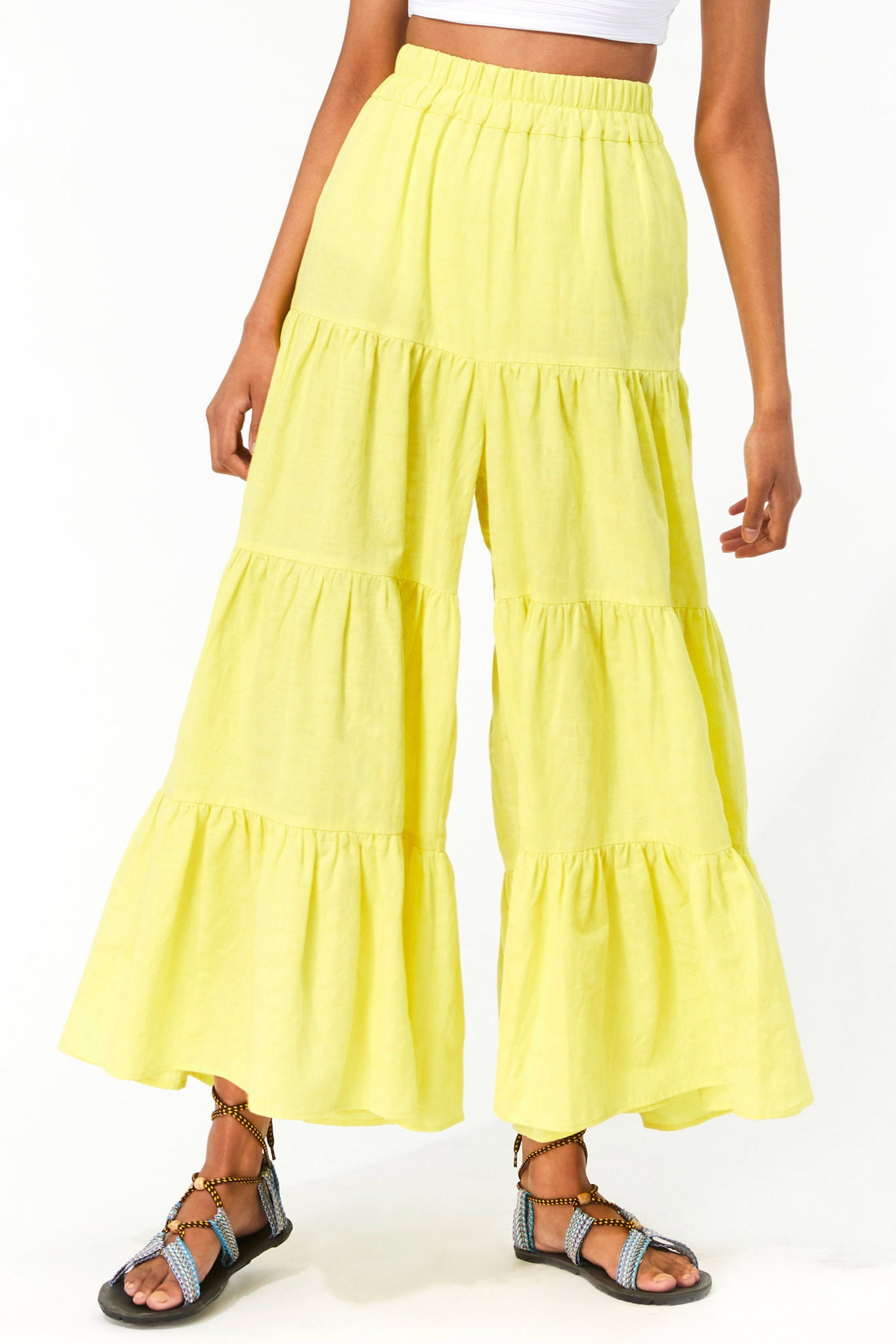 Mara Hoffman Neon Green Shelesea Pant in organic cotton and linen (front detail)