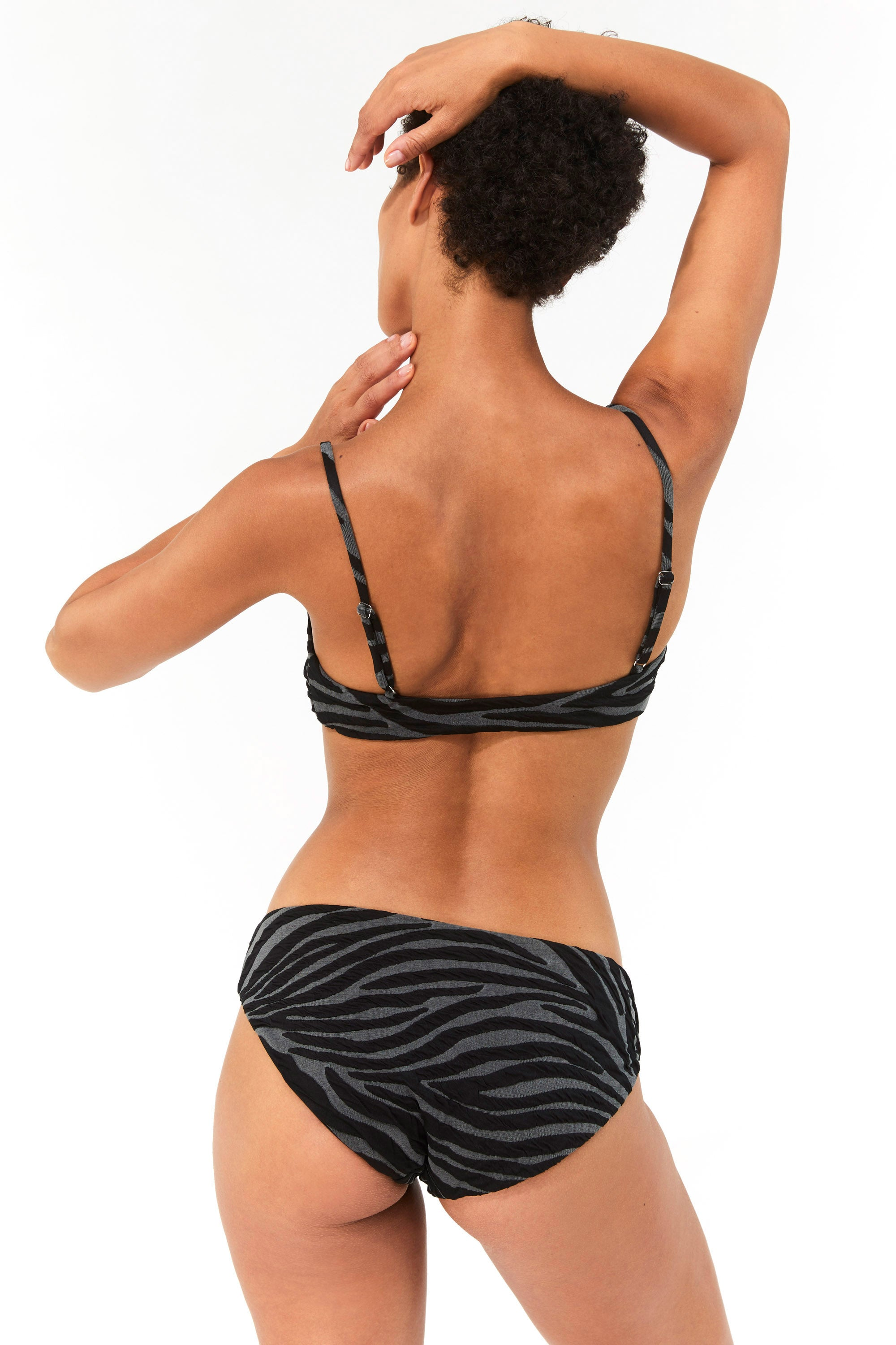 Mara Hoffman Black Gray Carla Bikini Top in Repreve (back)
