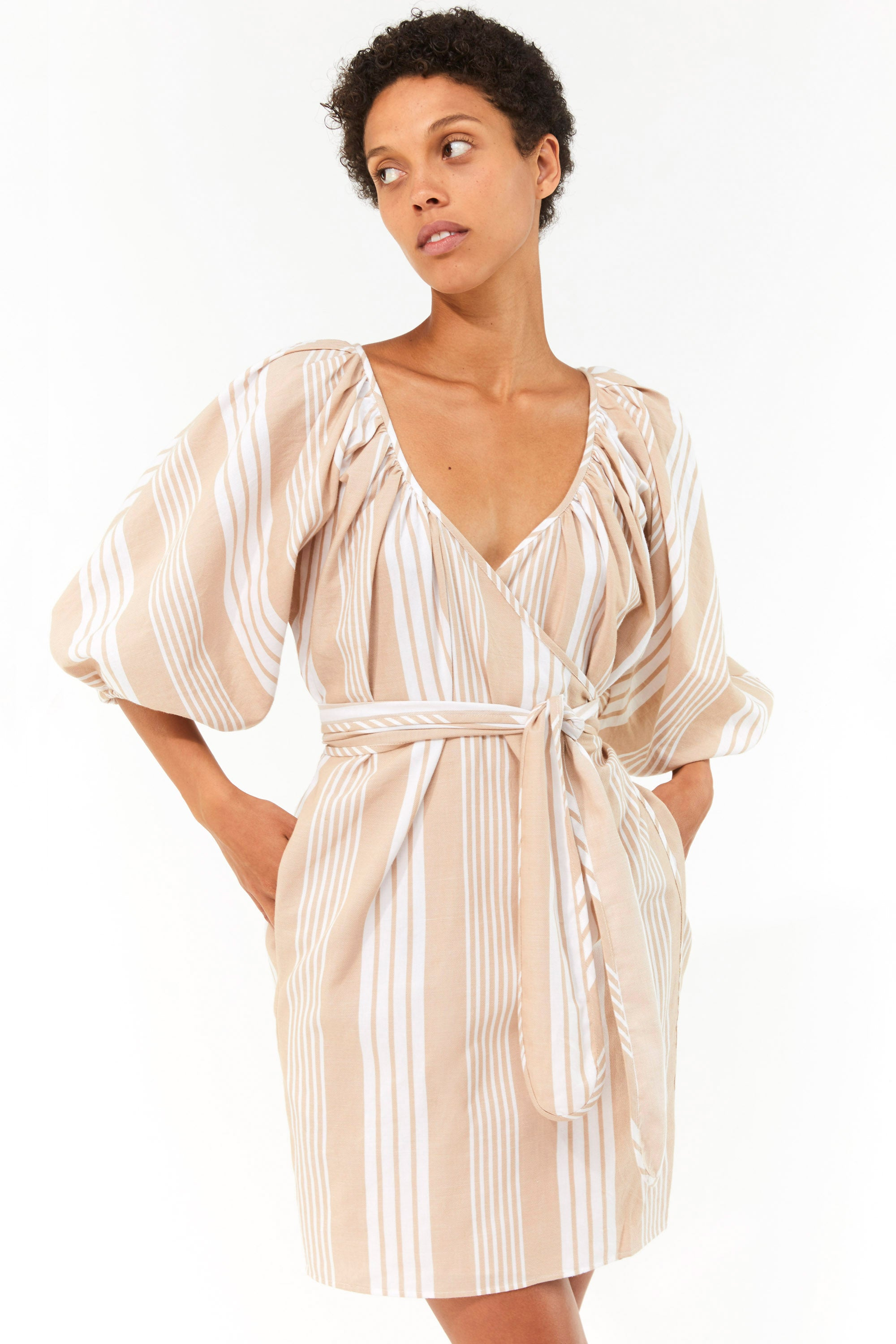Mara Hoffman White Sand Coletta Cover Up Dress in TENCEL Lyocell and organic cotton (front detail)