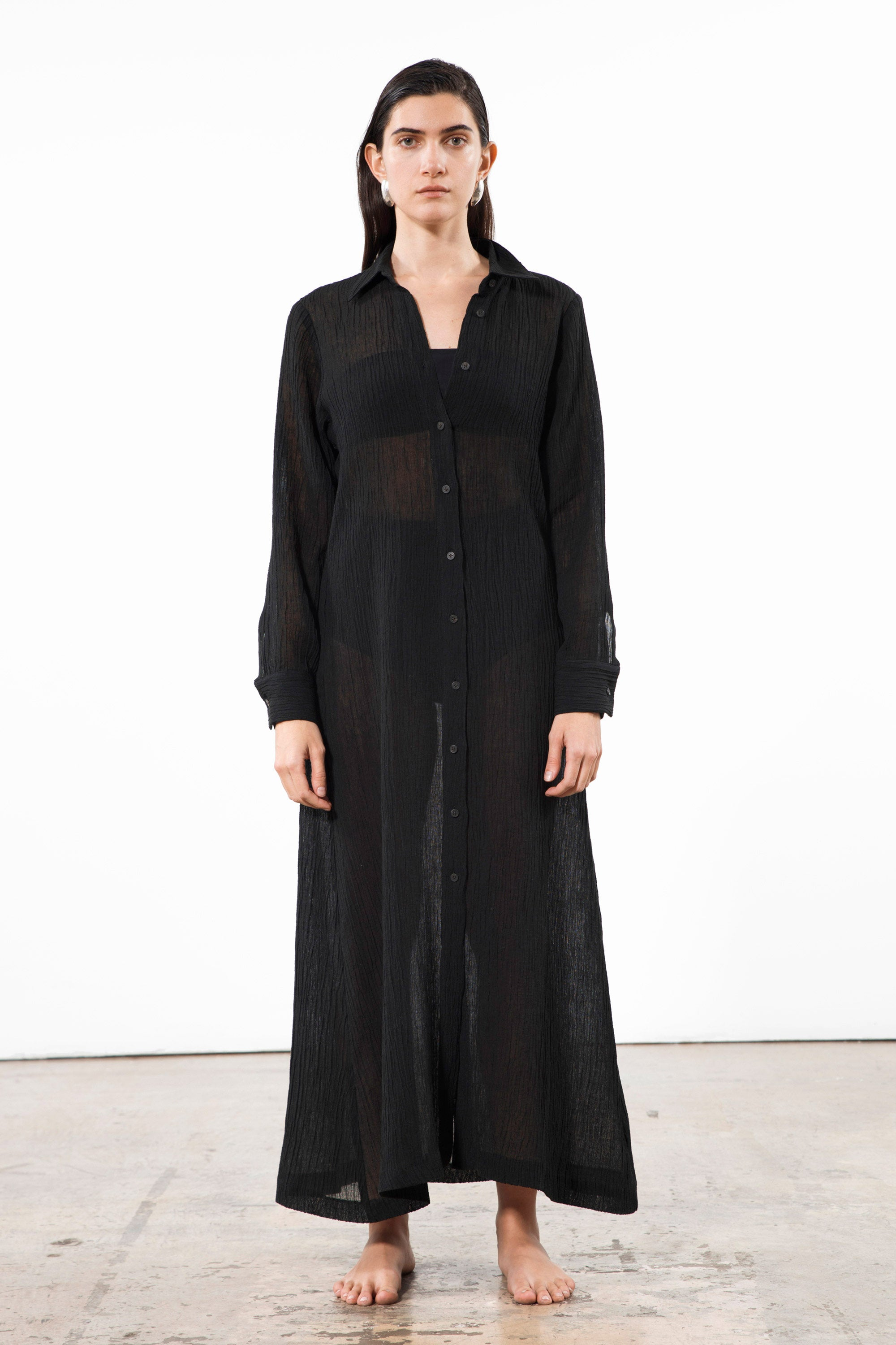 Mara Hoffman Black Cinzia Cover Up Dress in organic cotton and linen (front)