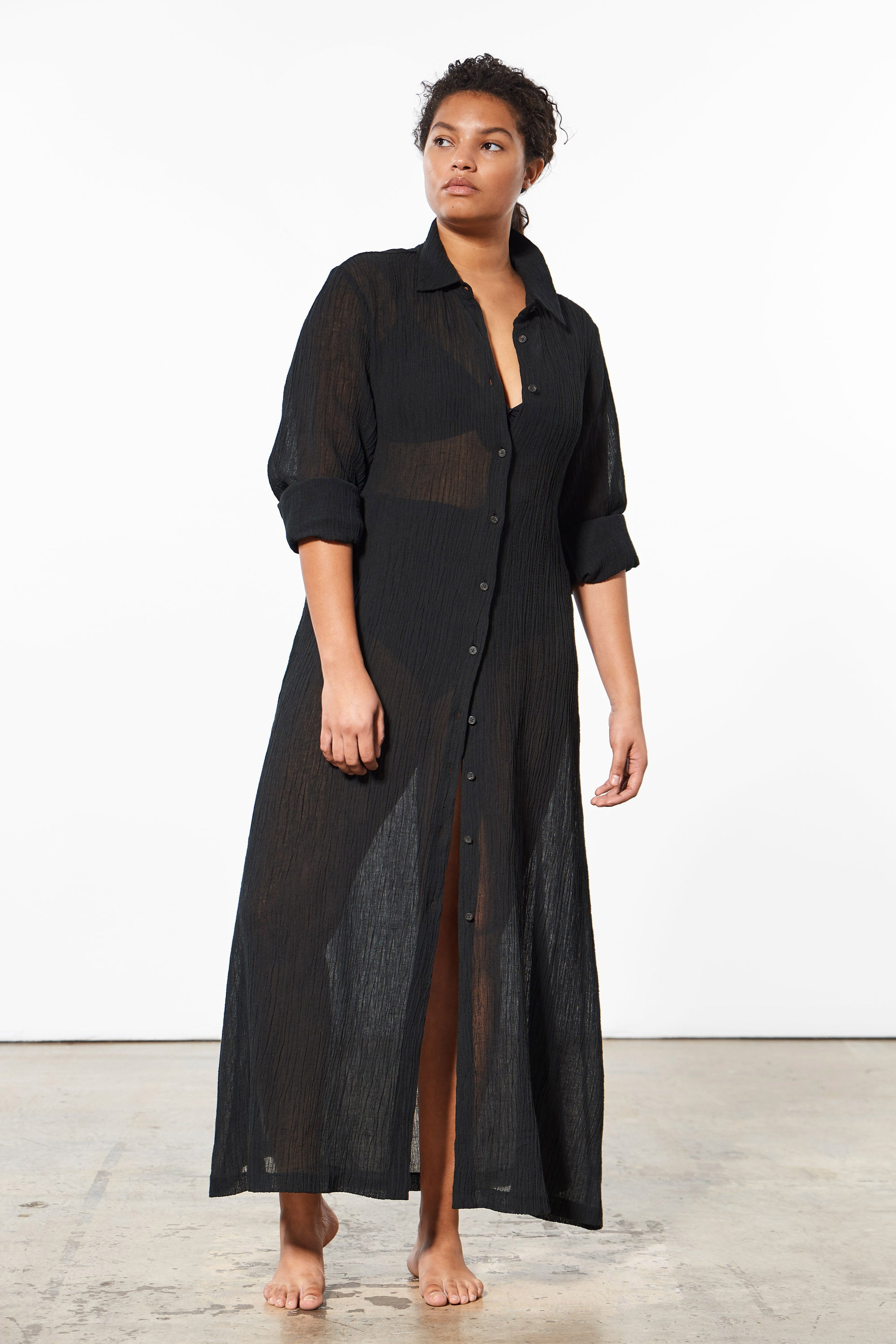 Mara Hoffman Extended Black Cinzia Cover Up Dress in organic cotton and linen (front)