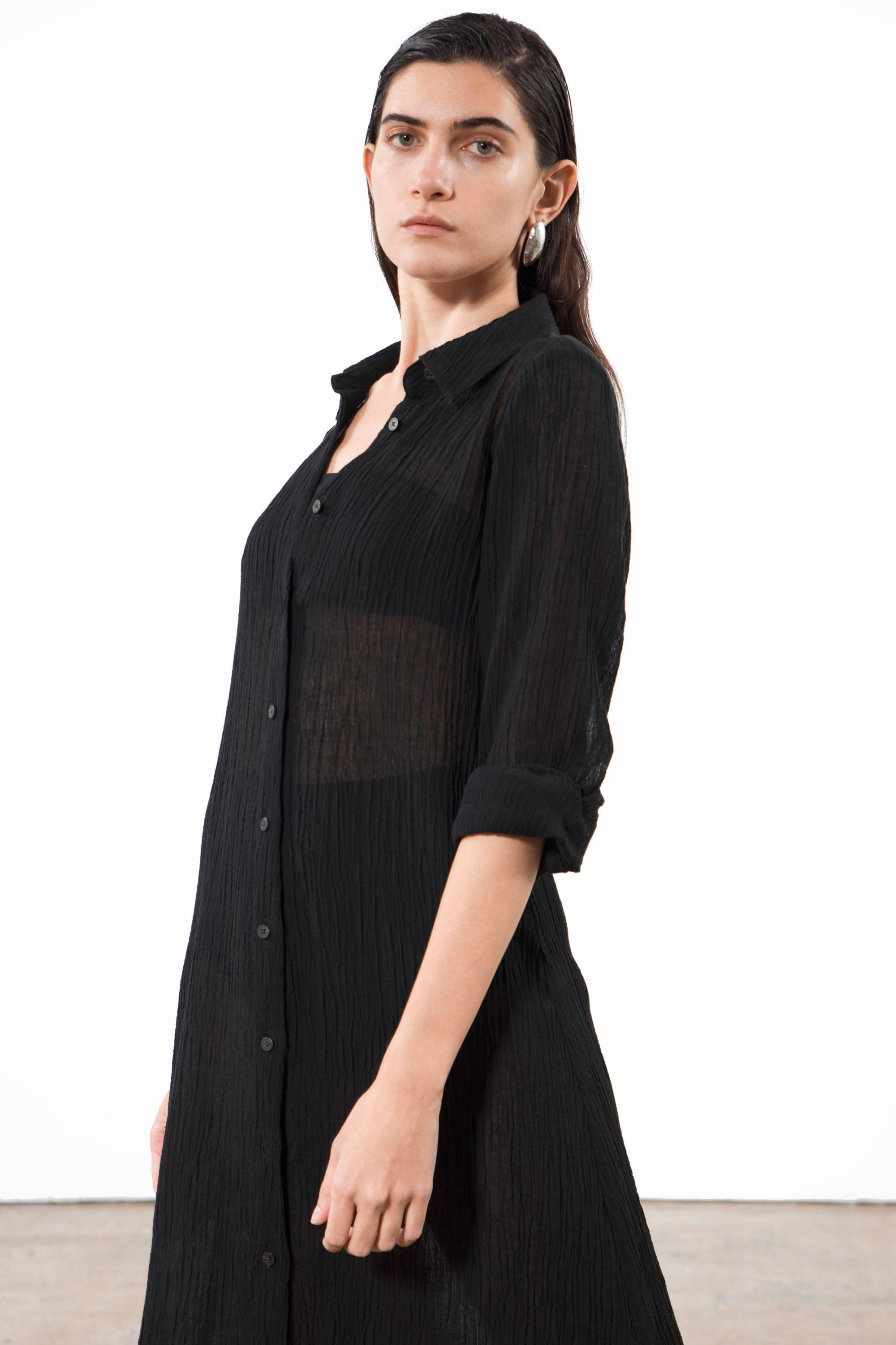 Mara Hoffman Black Cinzia Cover Up Dress in organic cotton and linen (front button details)