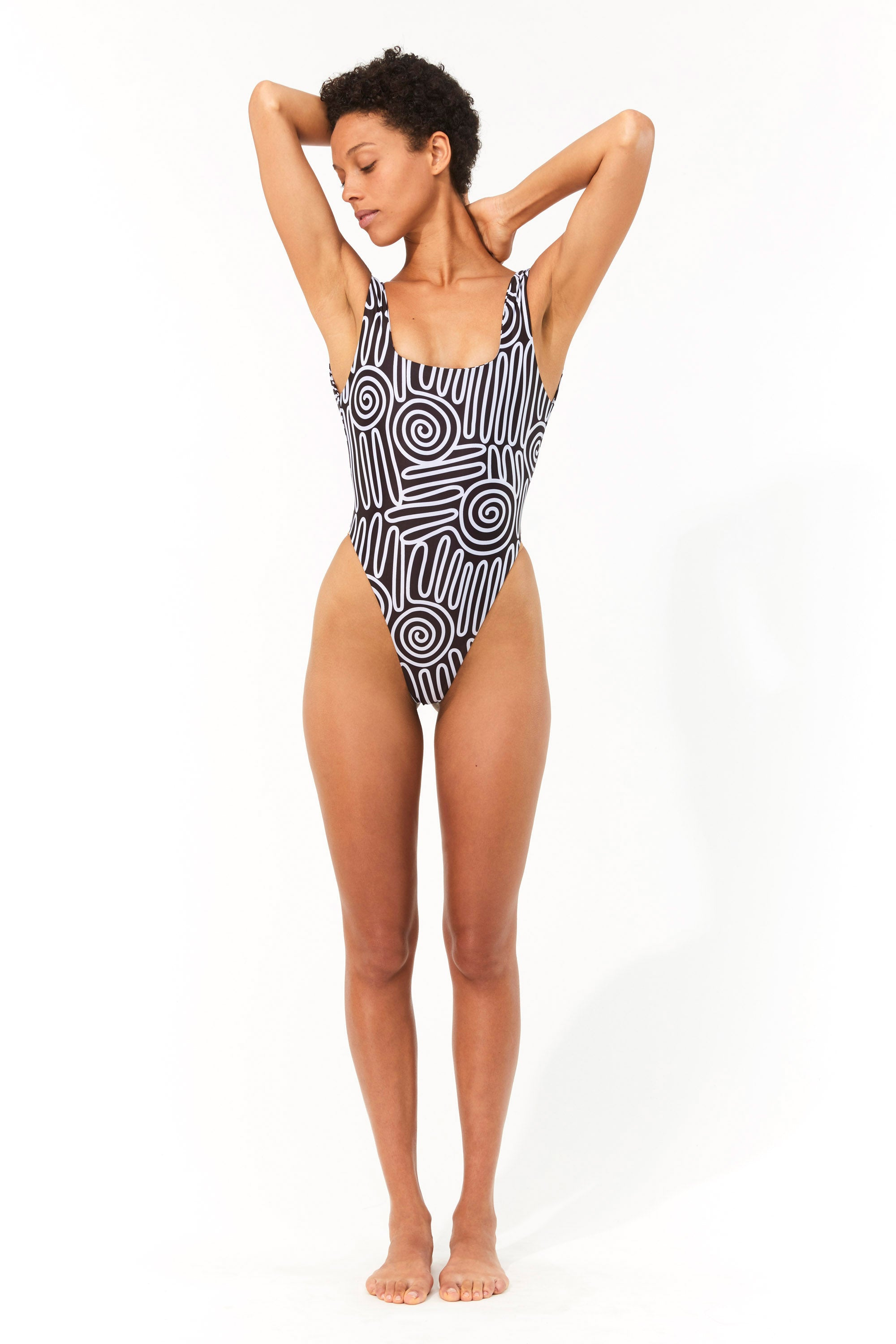Mara Hoffman Black & White Idalia One Piece in Repreve (front)