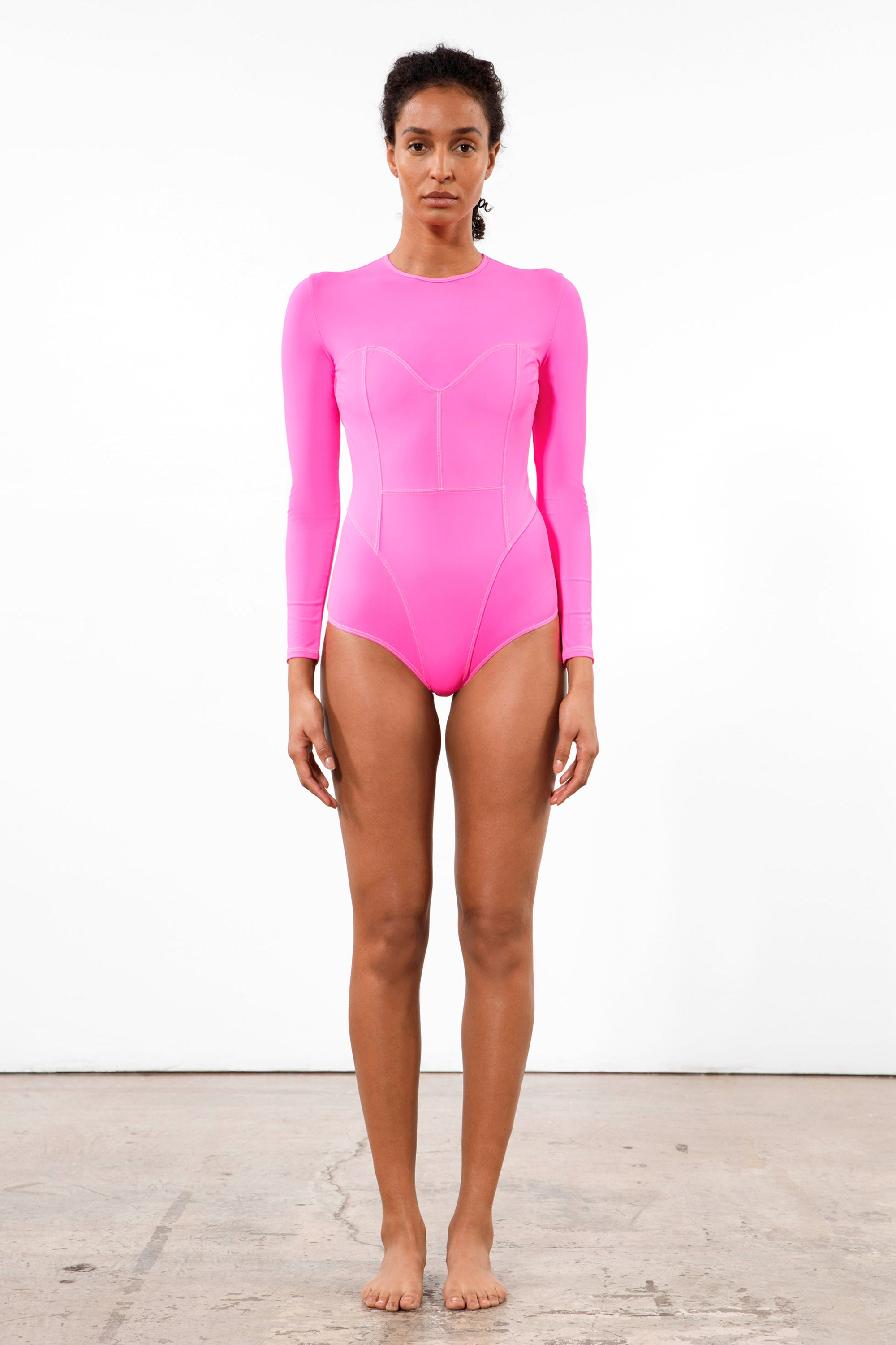 Mara Hoffman Rosa Shocking Lido One Piece in ECONYL (front)