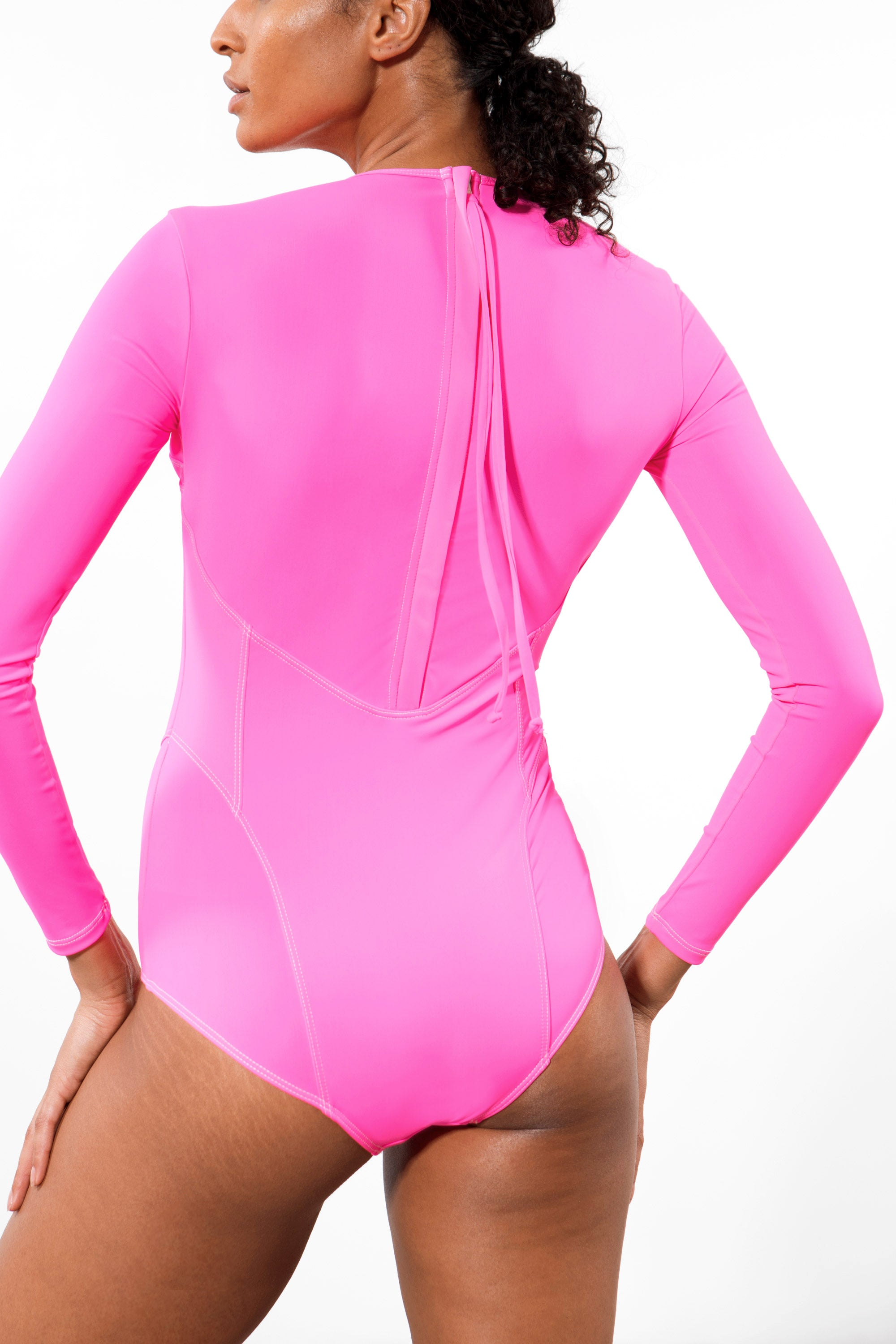 Mara Hoffman Rosa Shocking Lido One Piece in ECONYL (back detail)