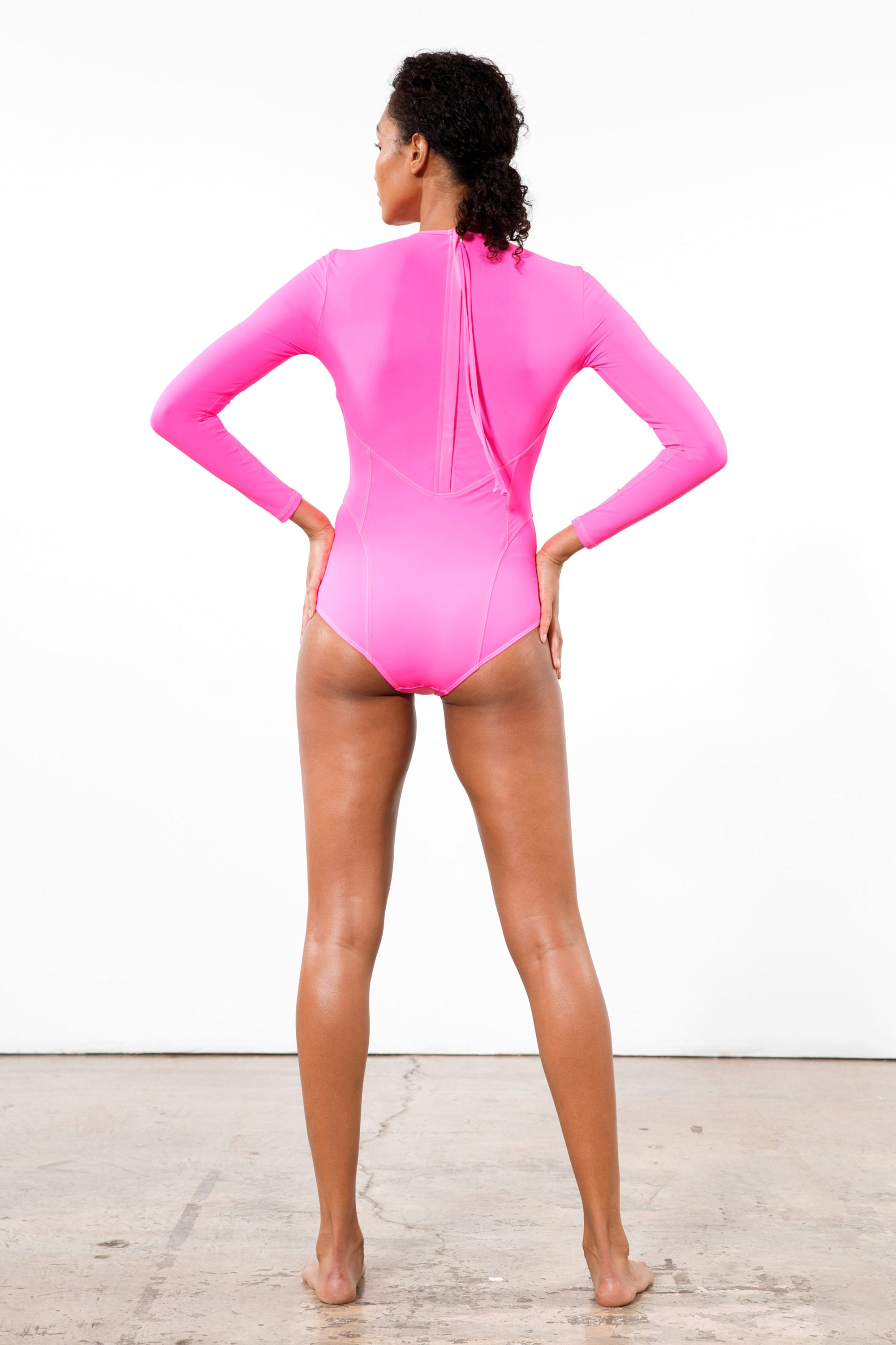 Mara Hoffman Rosa Shocking Lido One Piece in ECONYL (back)