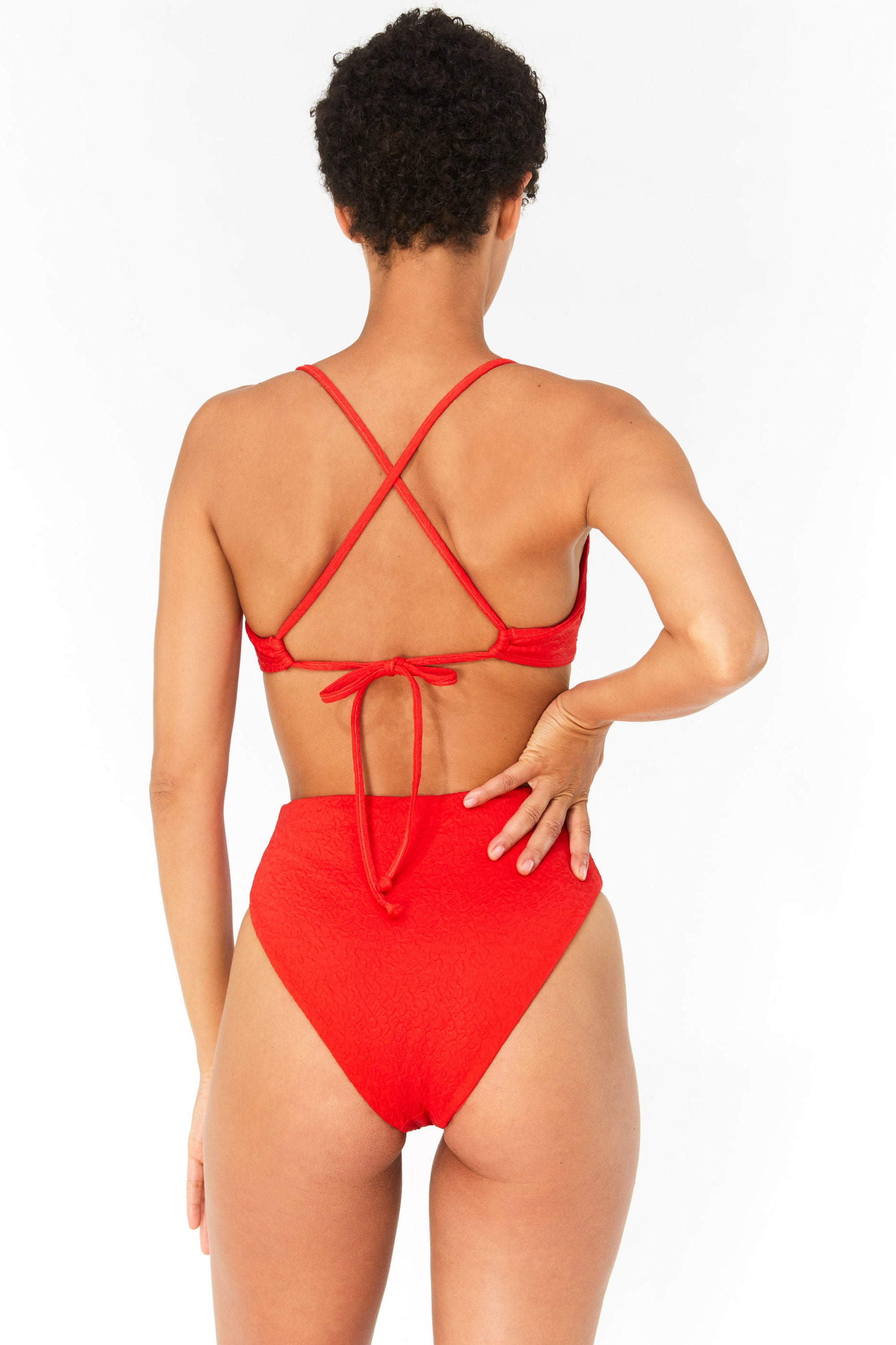 Mara Hoffman Red Mazlyn Bikini Top in Repreve (back detail)