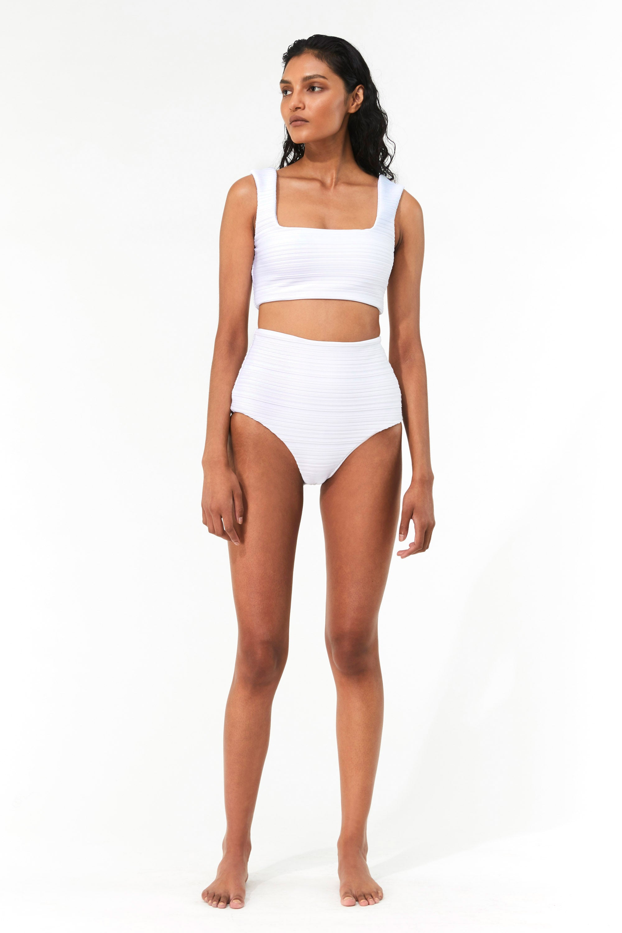 Mara Hoffman White Raina Bikini Top in Repreve (front)