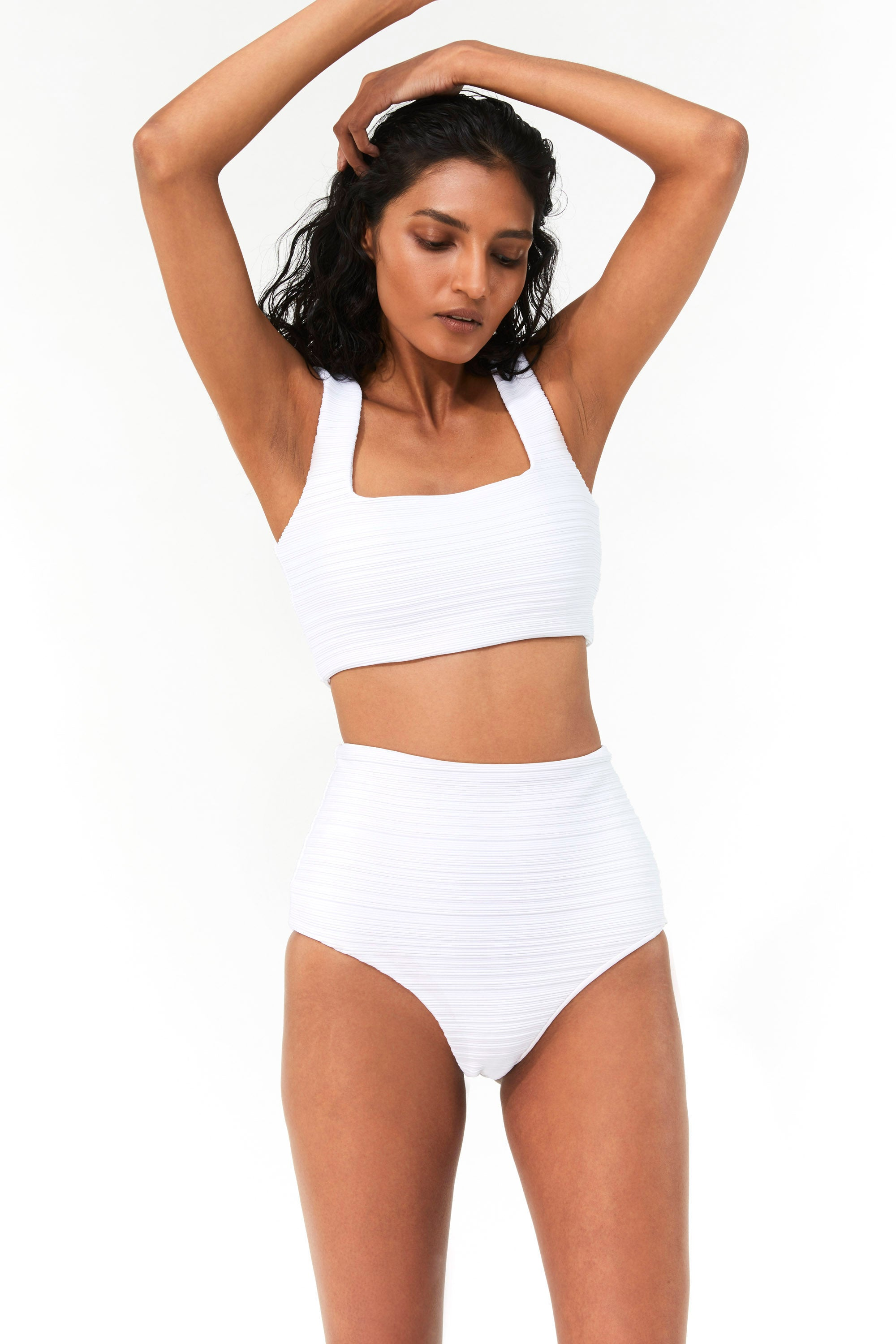 Mara Hoffman White Raina Bikini Top in Repreve (front detail)