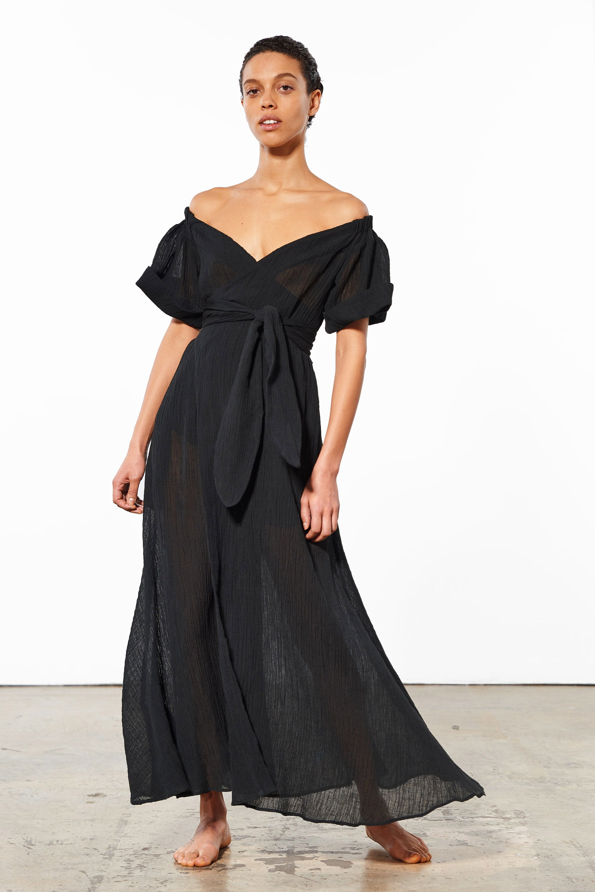 Mara Hoffman Black Adelina Cover Up Dress in organic cotton and linen (front)
