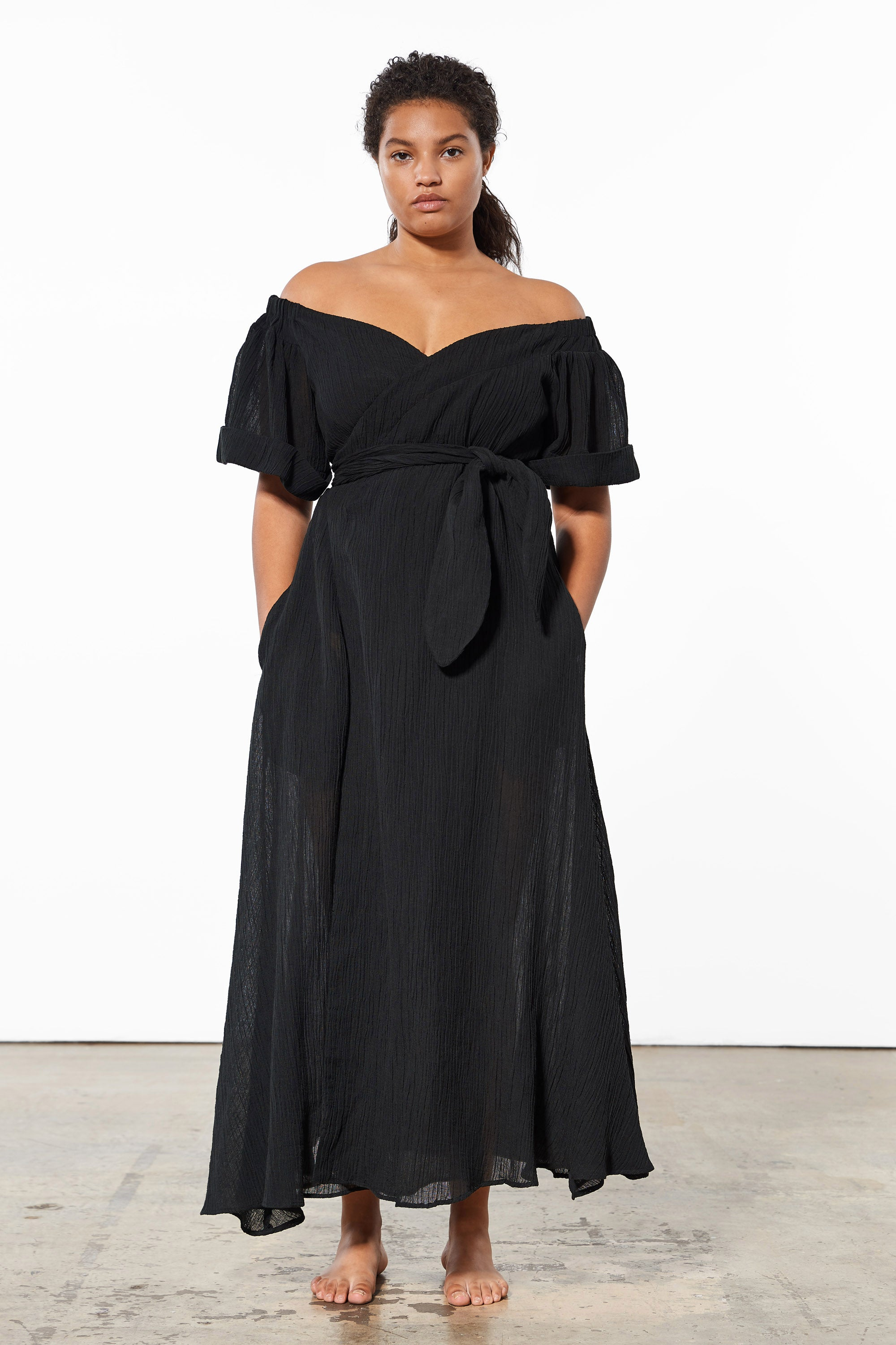 Mara Hoffman Extended Black Adelina Cover Up Dress in organic cotton and linen (front)