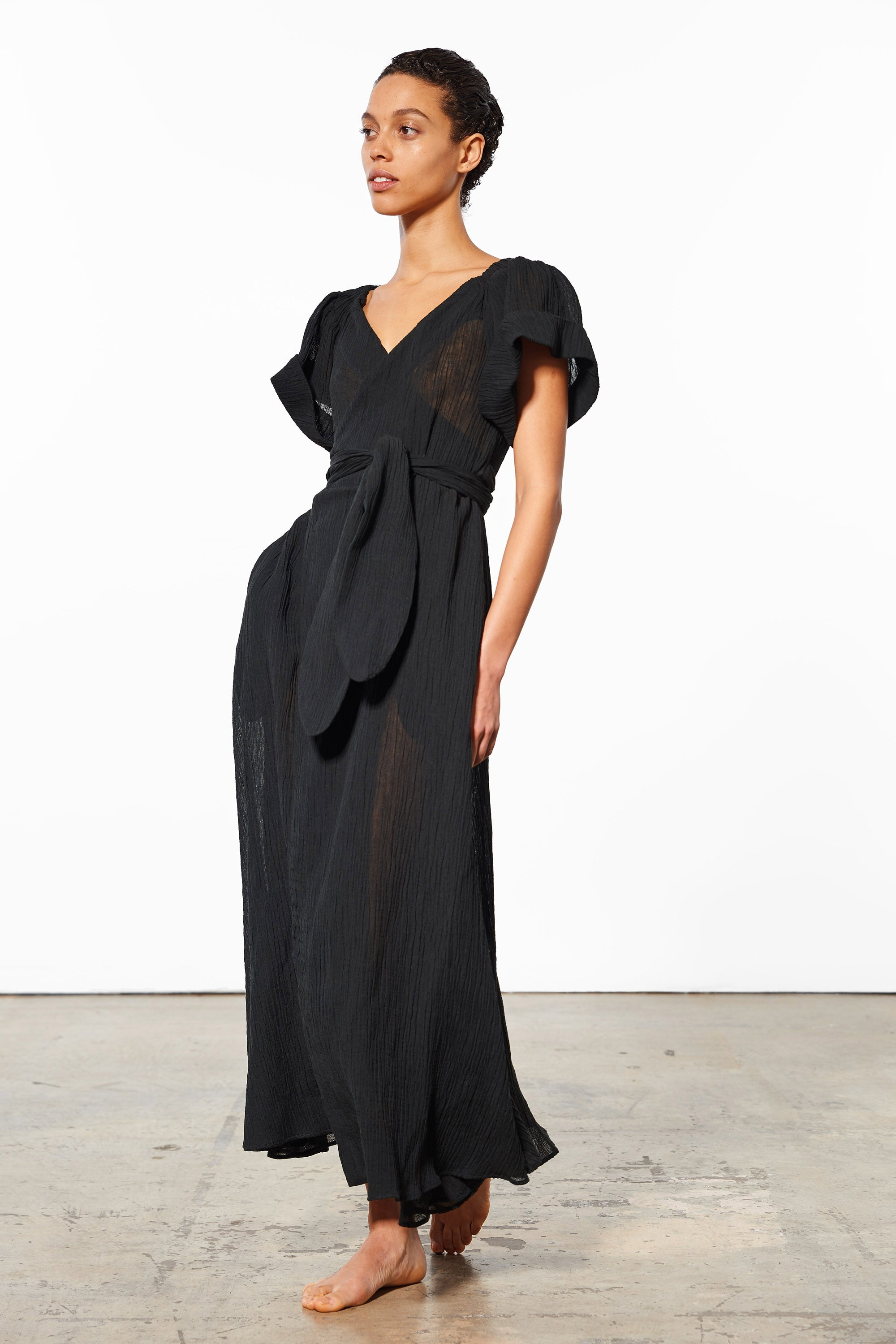 Mara Hoffman Black Adelina Cover Up Dress in organic cotton and linen (side)