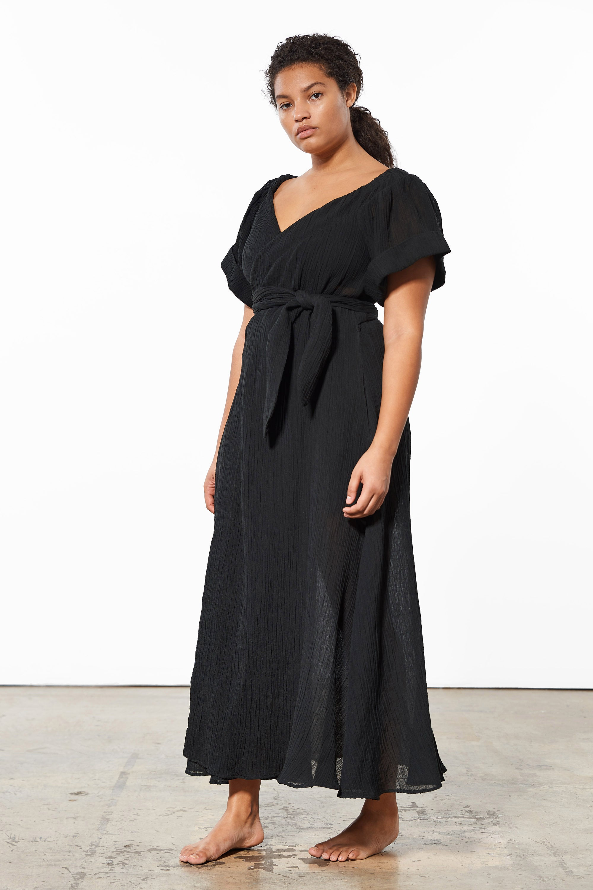 Mara Hoffman Extended Black Adelina Cover Up Dress in organic cotton and linen (side)