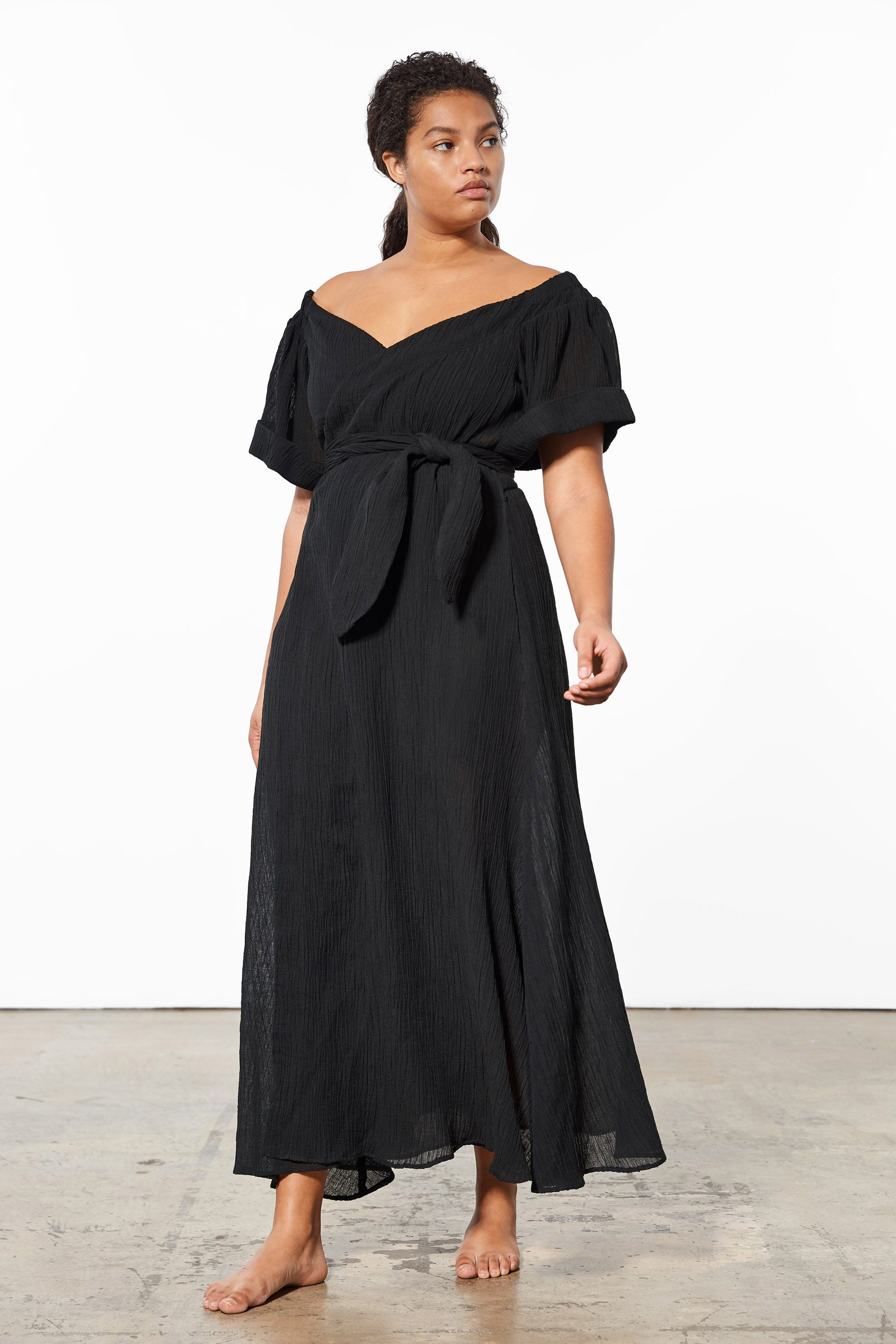Mara Hoffman Extended Black Adelina Cover Up Dress in organic cotton and linen (front movement)