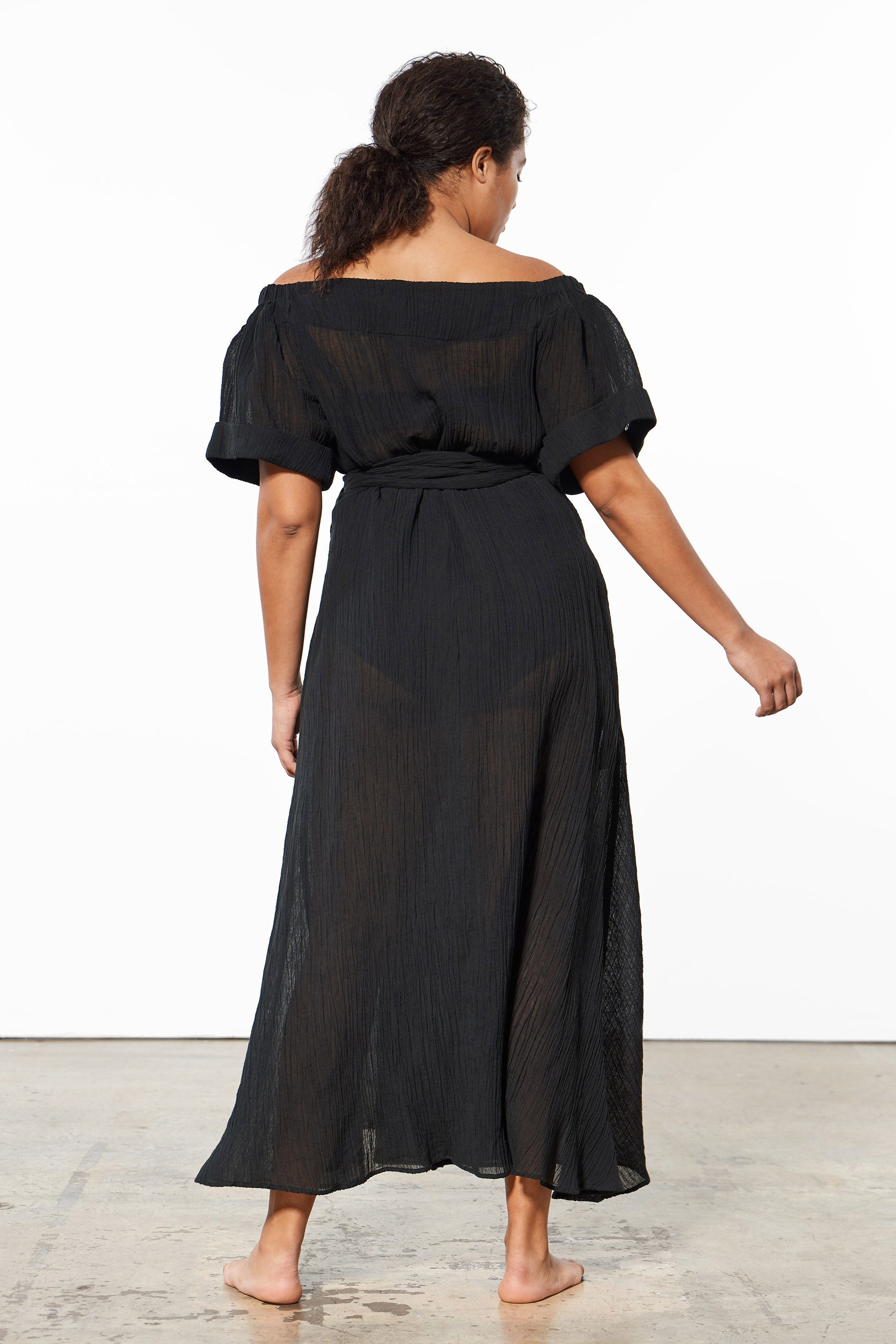 Mara Hoffman Extended Black Adelina Cover Up Dress in organic cotton and linen (back)