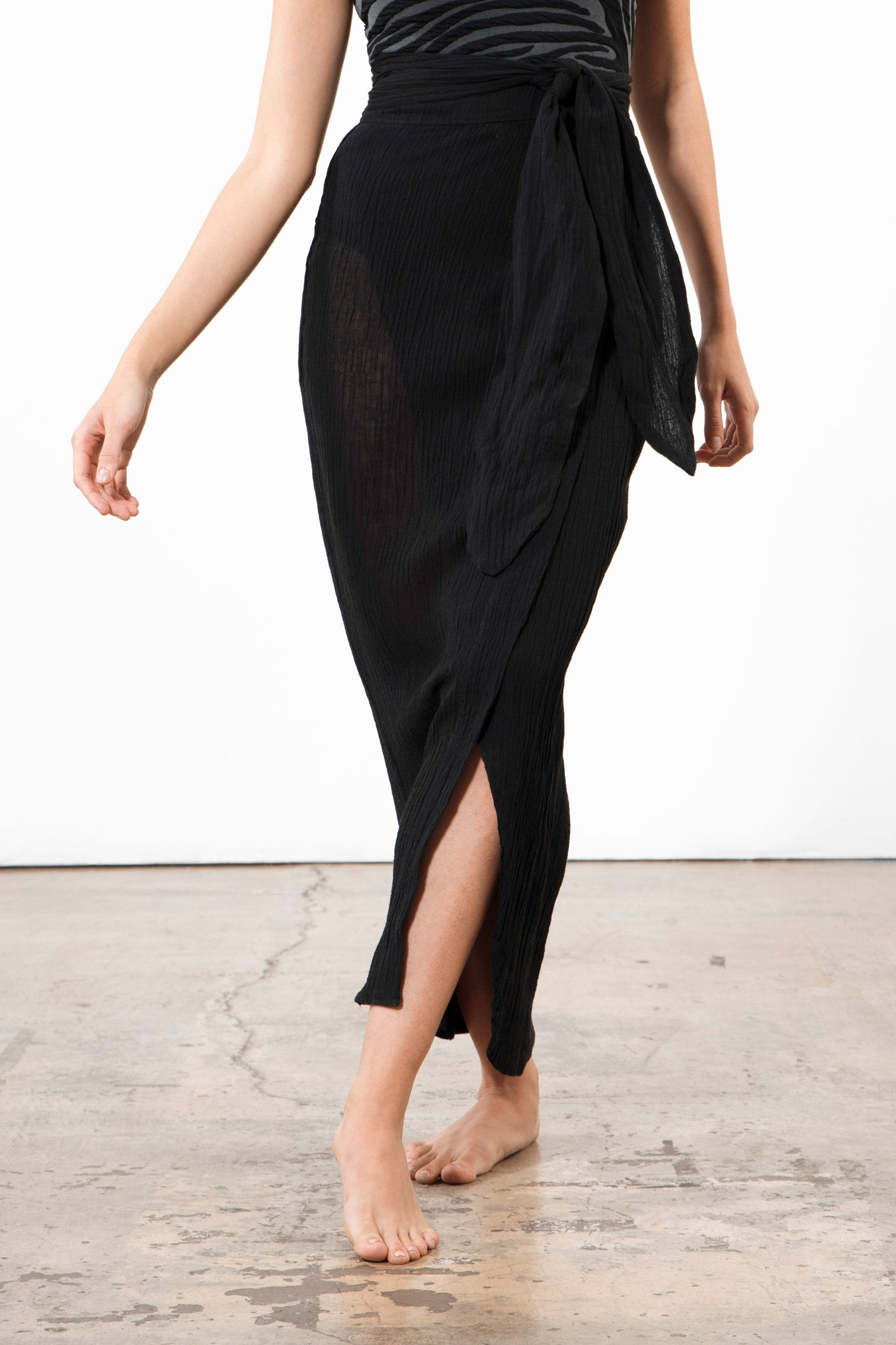 Mara Hoffman Black Thiago Cover Up Skirt in organic cotton and linen (Front ankle detail)