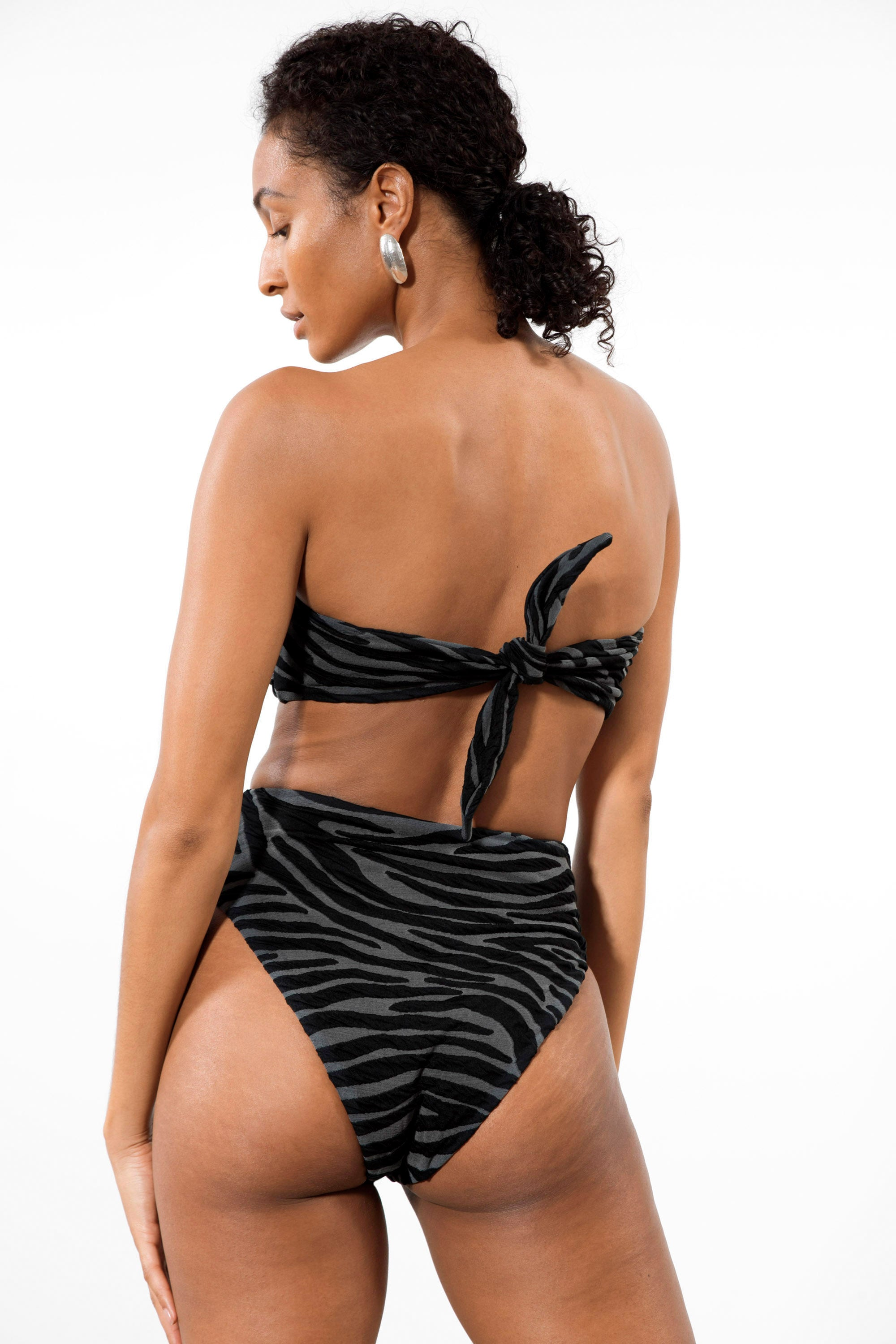 Mara Hoffman Black Gray Imina Bikini Bottom in Repreve (back detail)