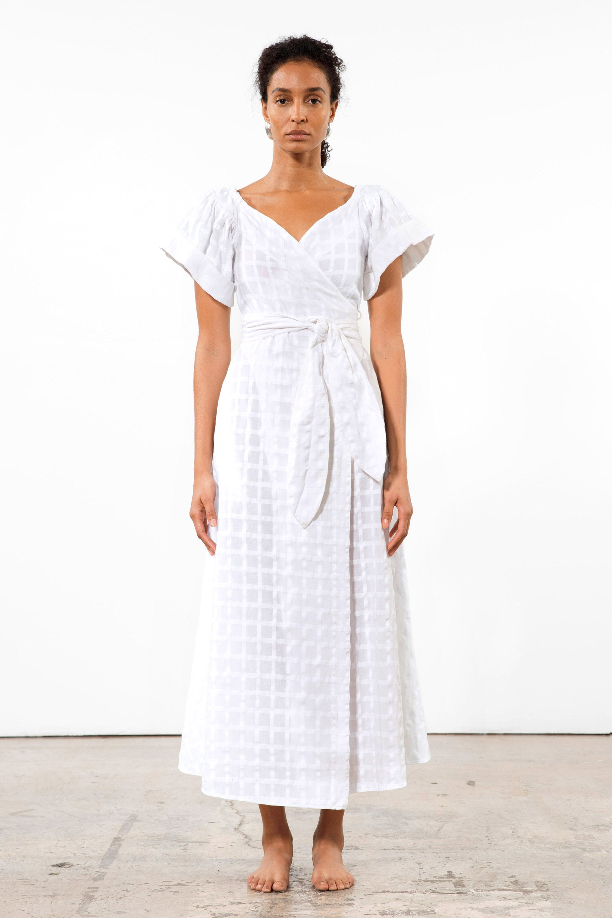 Mara Hoffman White Adelina Cover Up Dress in organic cotton (front)