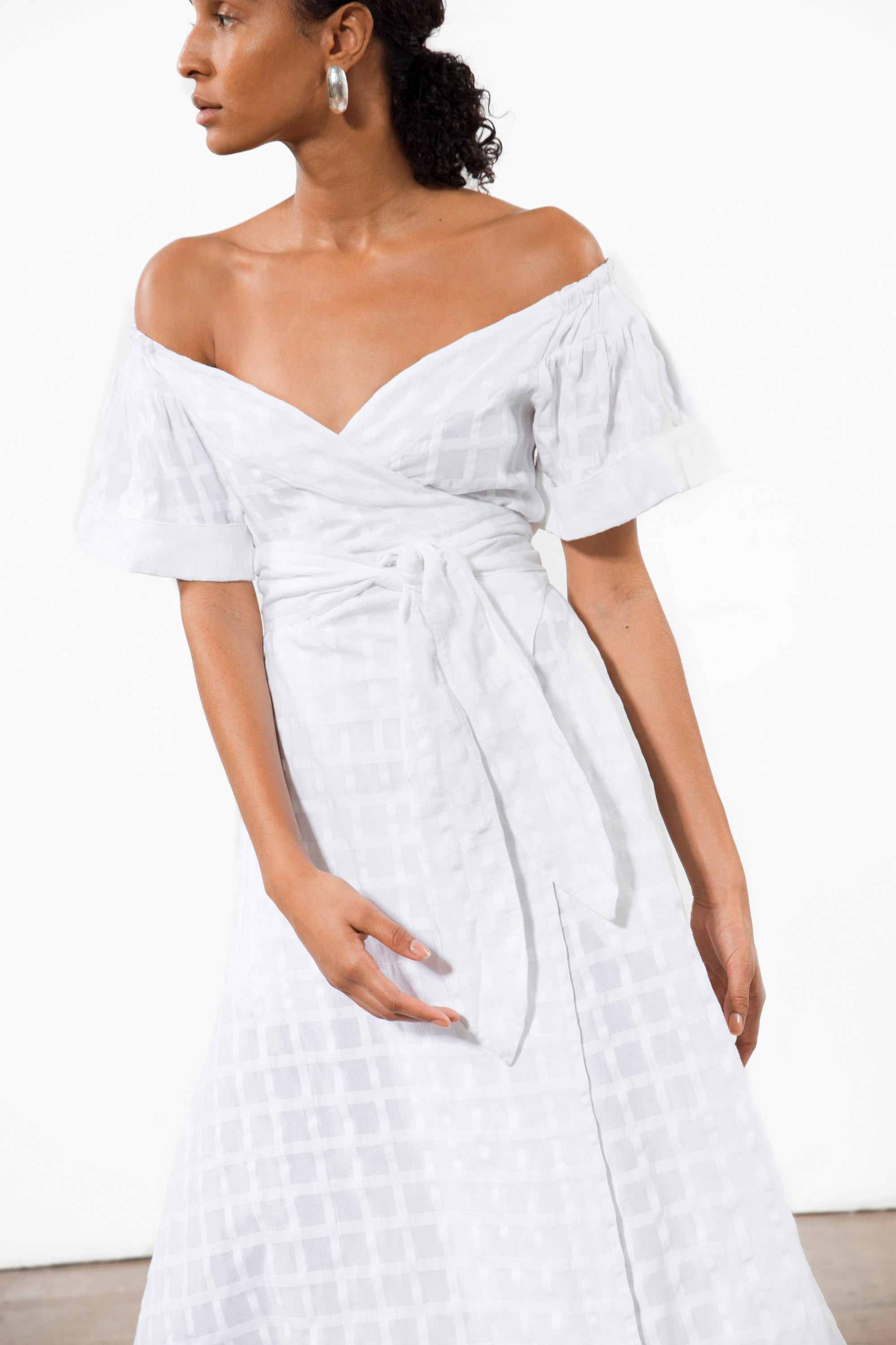 Mara Hoffman White Adelina Cover Up Dress in organic cotton (neckline)