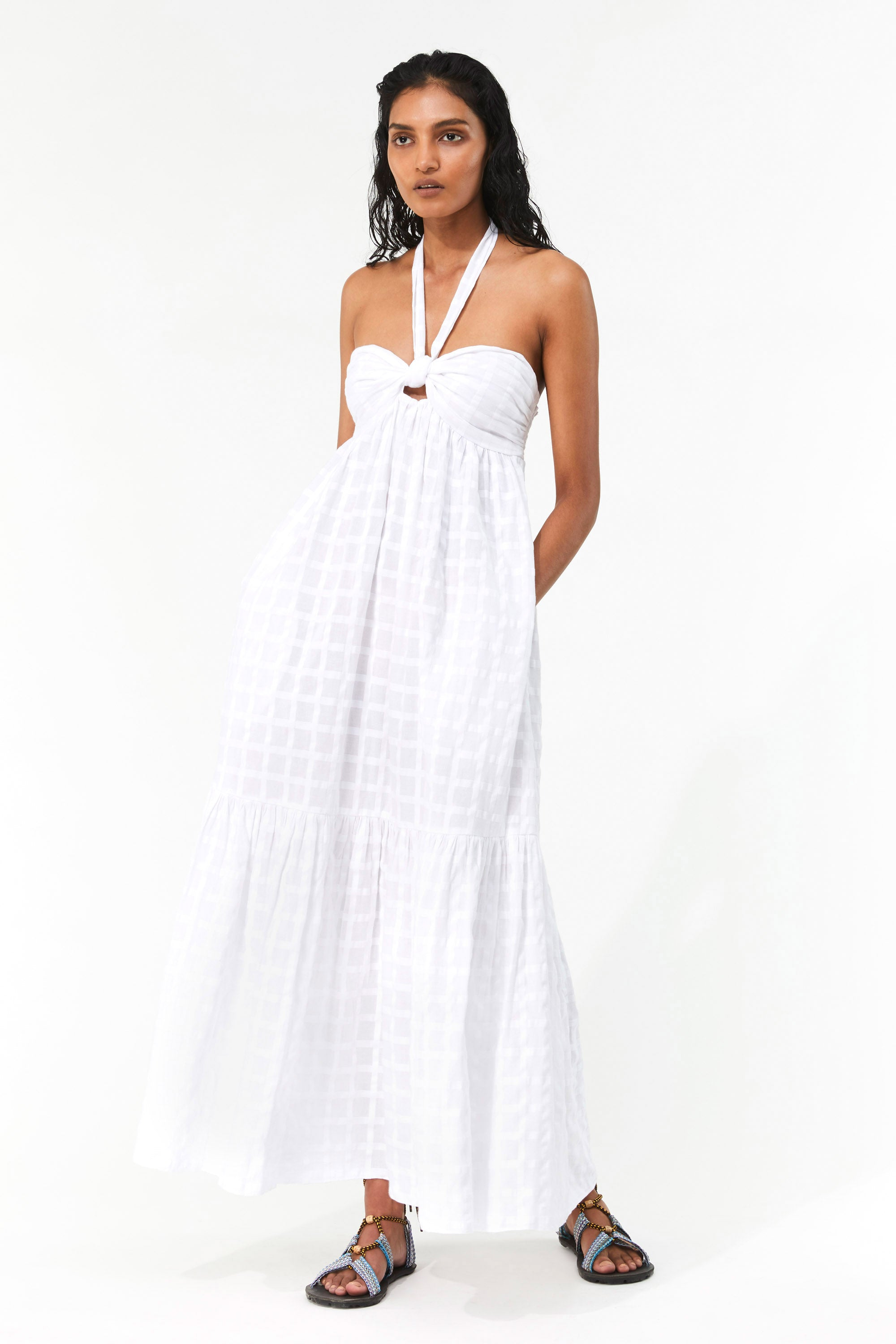 Mara Hoffman White Basilia Cover Up Dress in organic cotton (front)