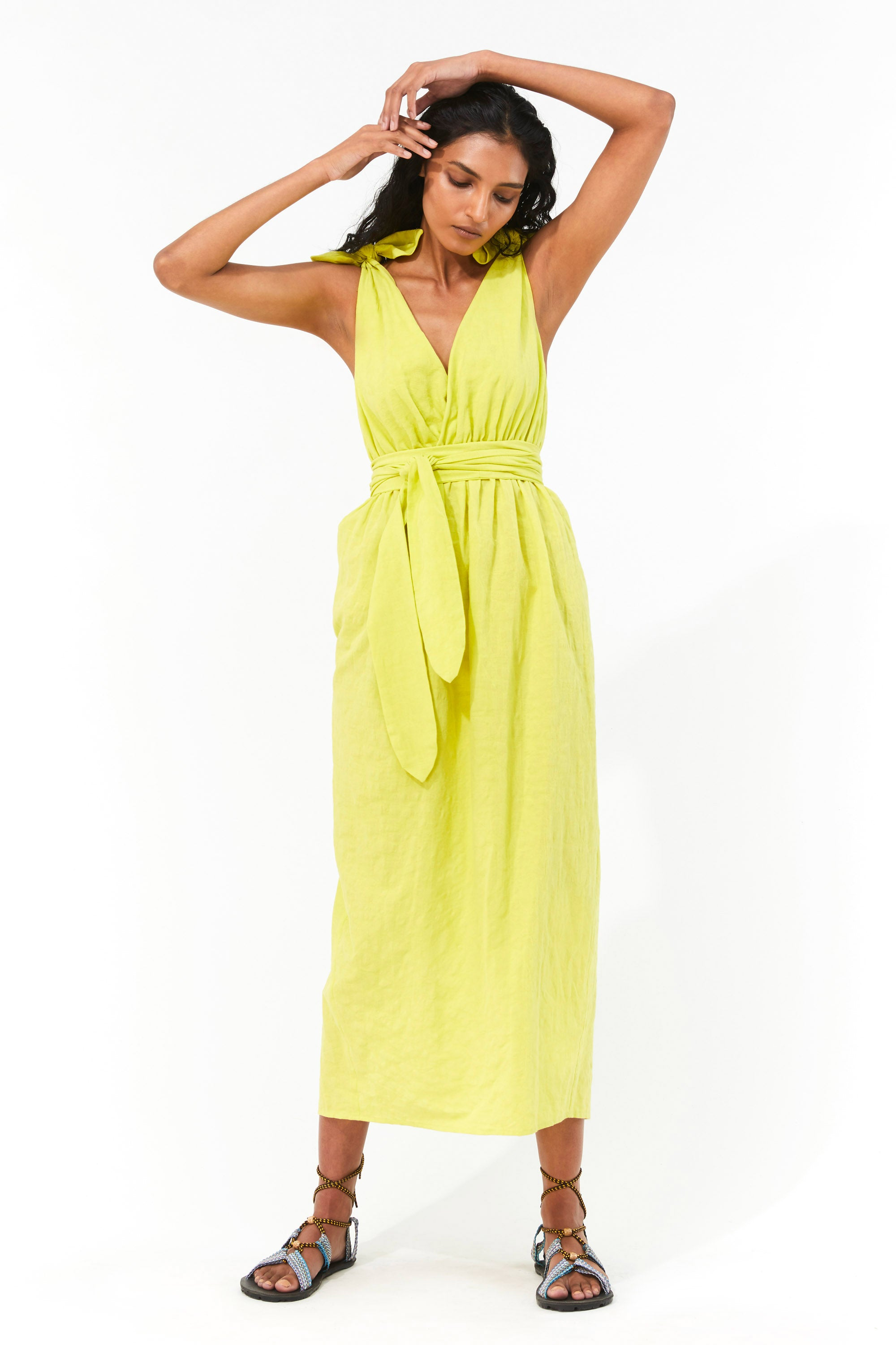 Mara Hoffman Neon Green Calpyso Cover Up Dress in organic cotton and linen (front)