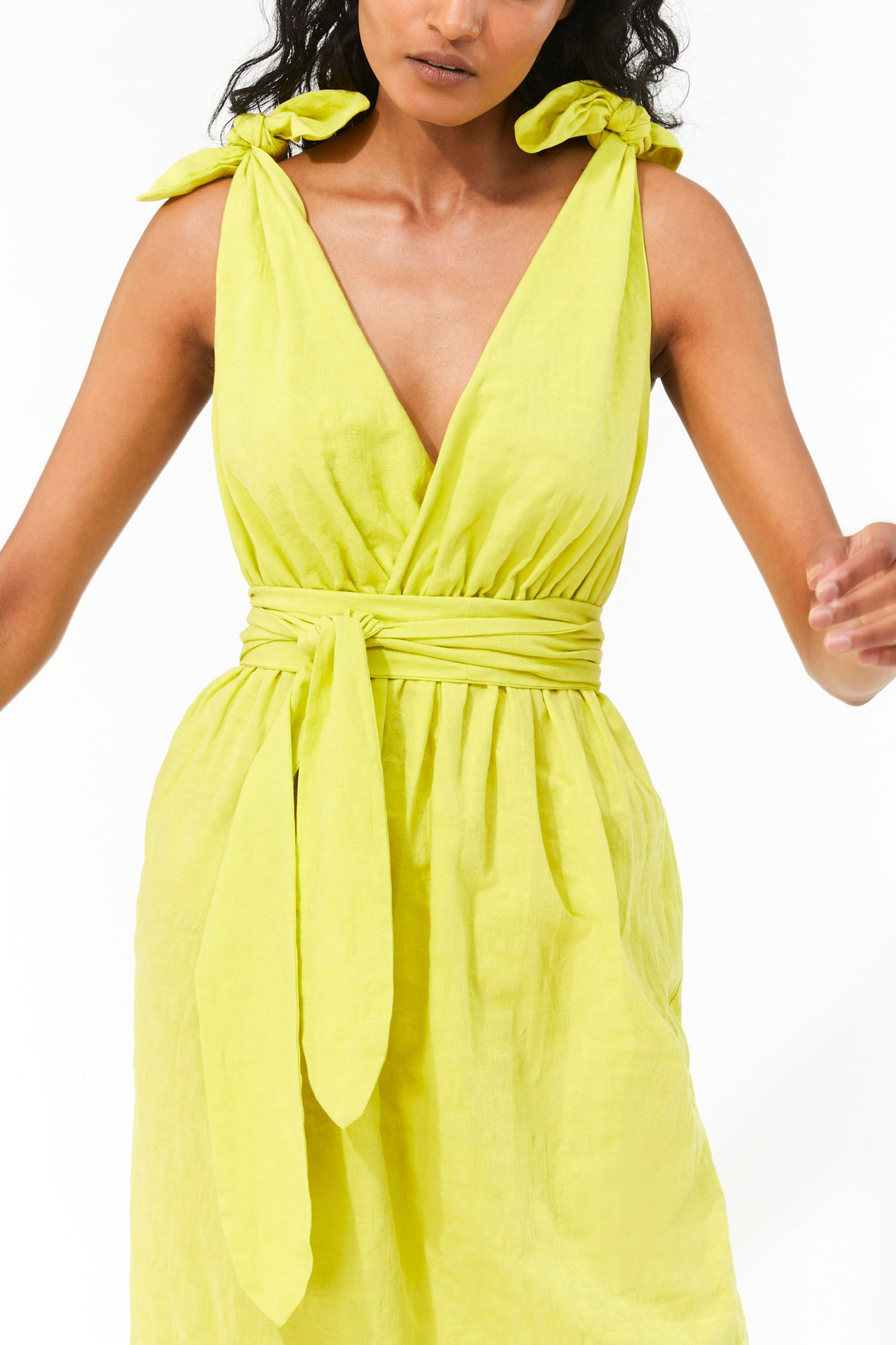 Mara Hoffman Neon Green Calpyso Cover Up Dress in organic cotton and linen (front belt detail)