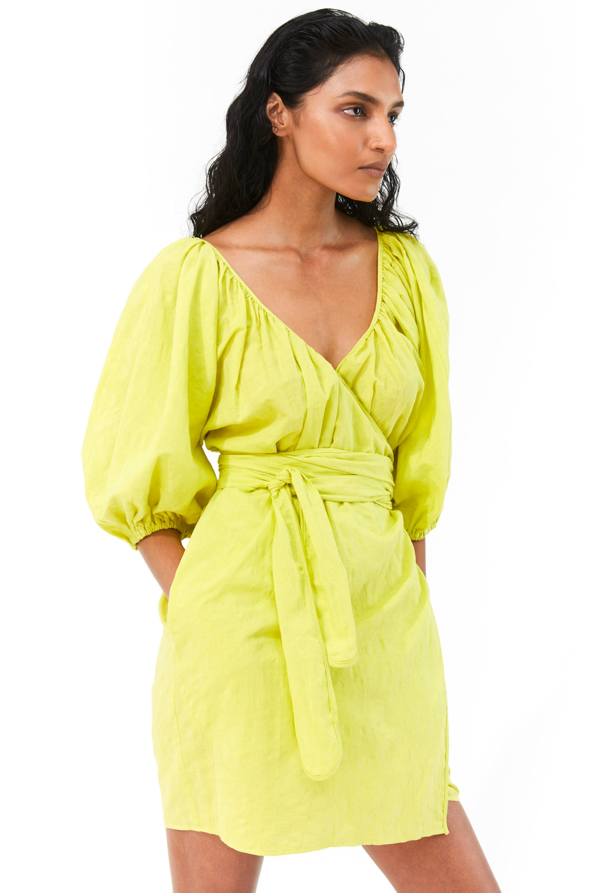 Mara Hoffman Neon Green Coletta Cover Up Dress in organic cotton and linen (front detail)