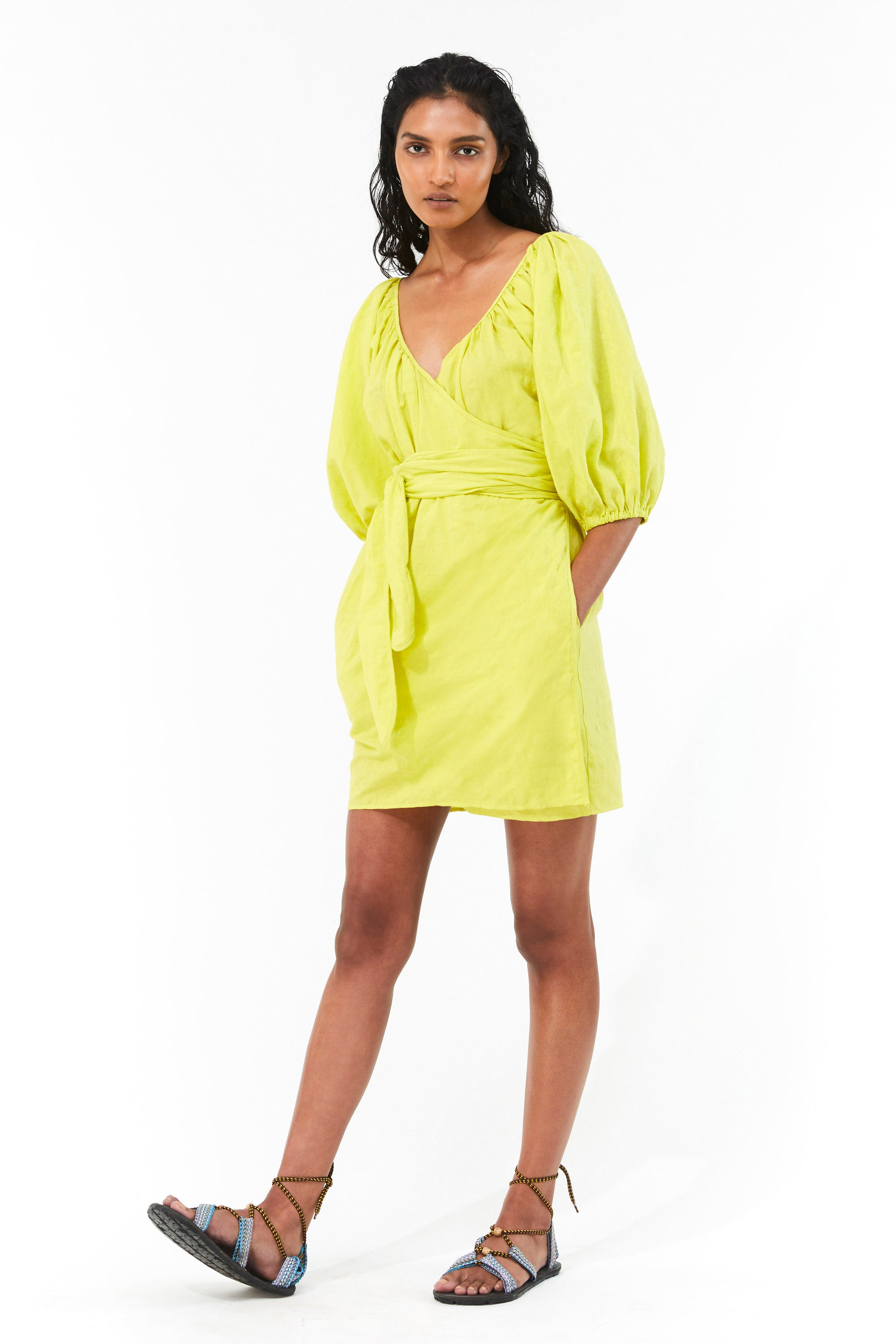 Mara Hoffman Neon Green Coletta Cover Up Dress in organic cotton and linen (front)