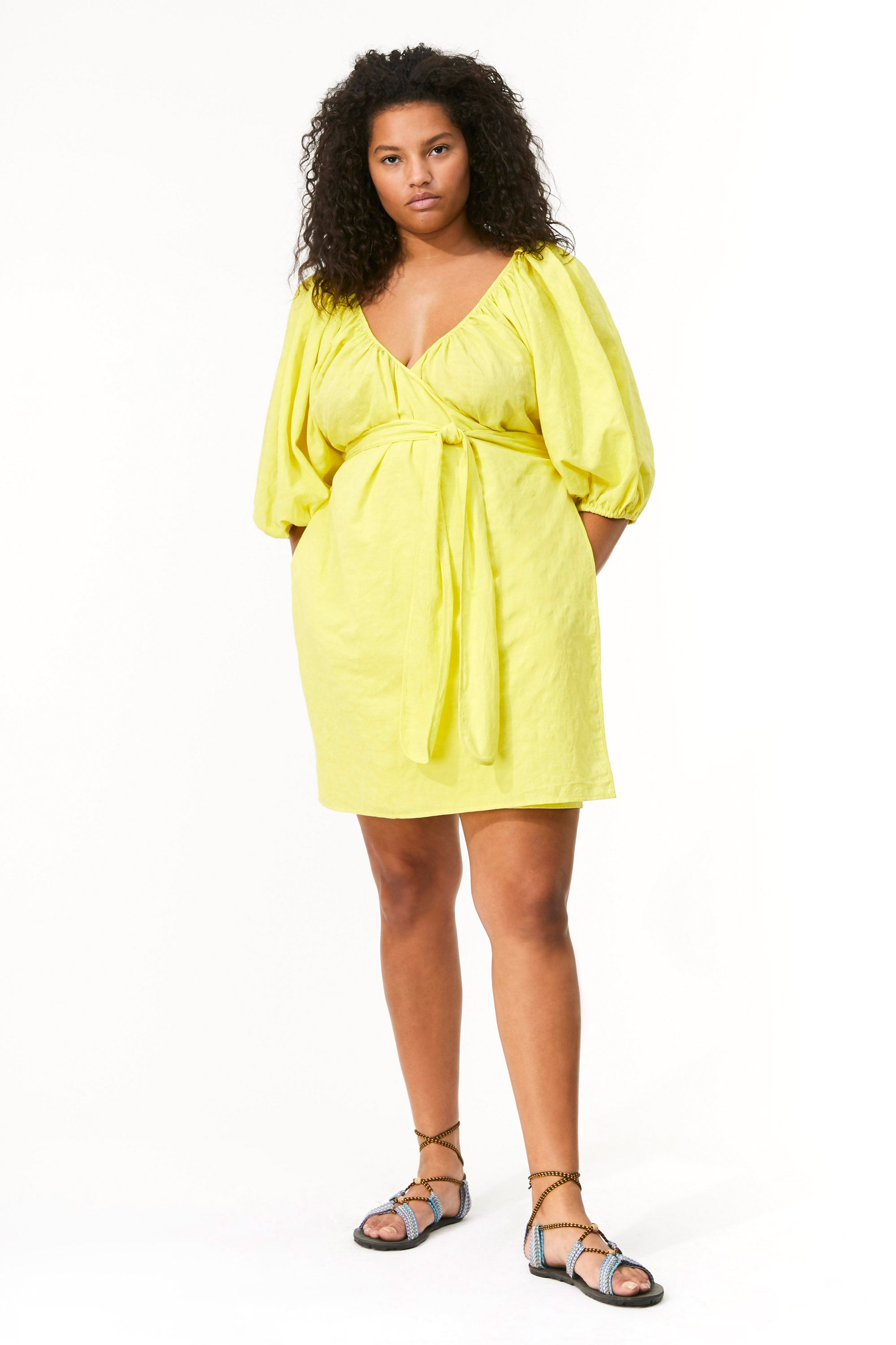 Mara Hoffman Extended Neon Green Coletta Cover Up Dress in organic cotton and linen (front)