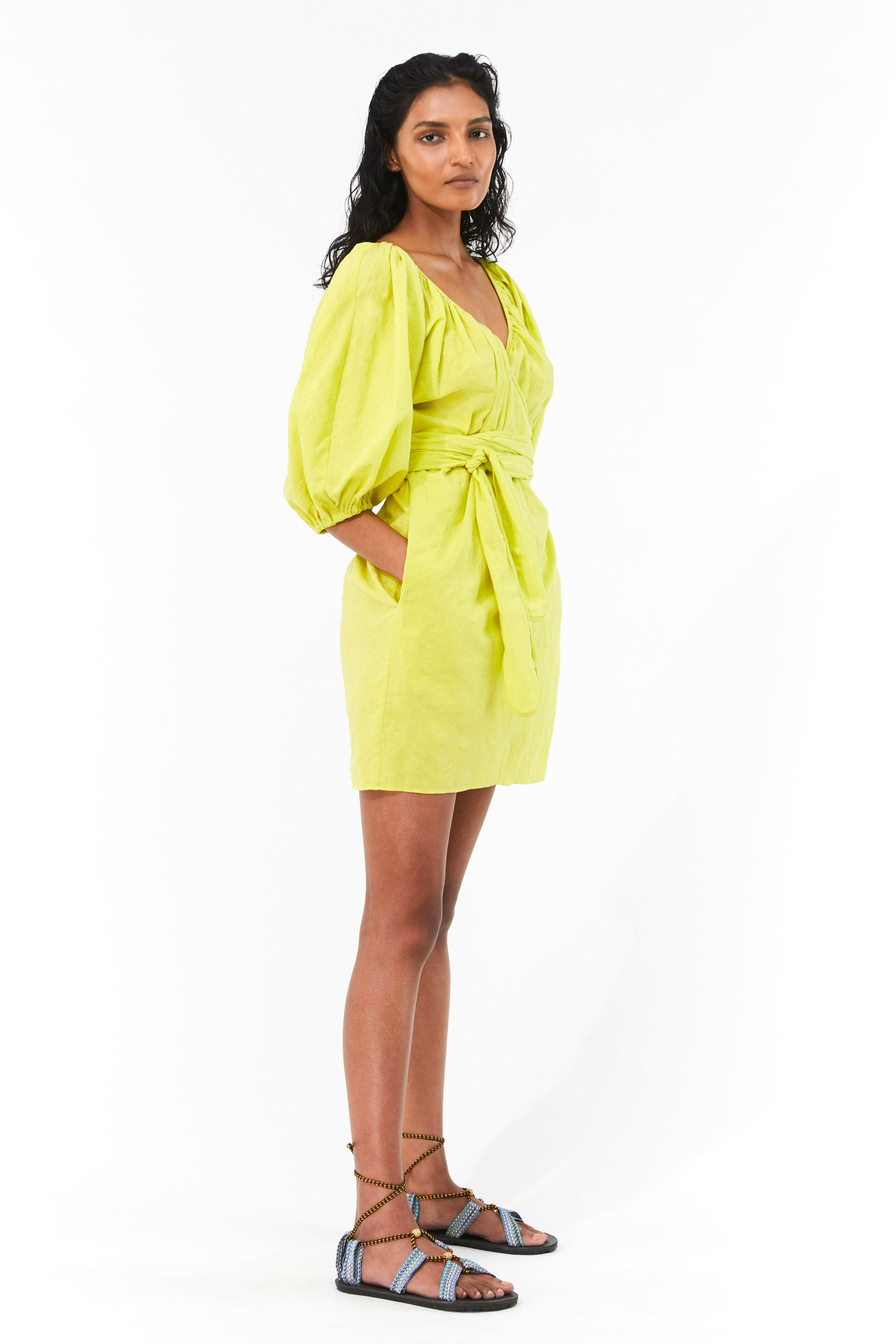 Mara Hoffman Neon Green Coletta Cover Up Dress in organic cotton and linen (side)