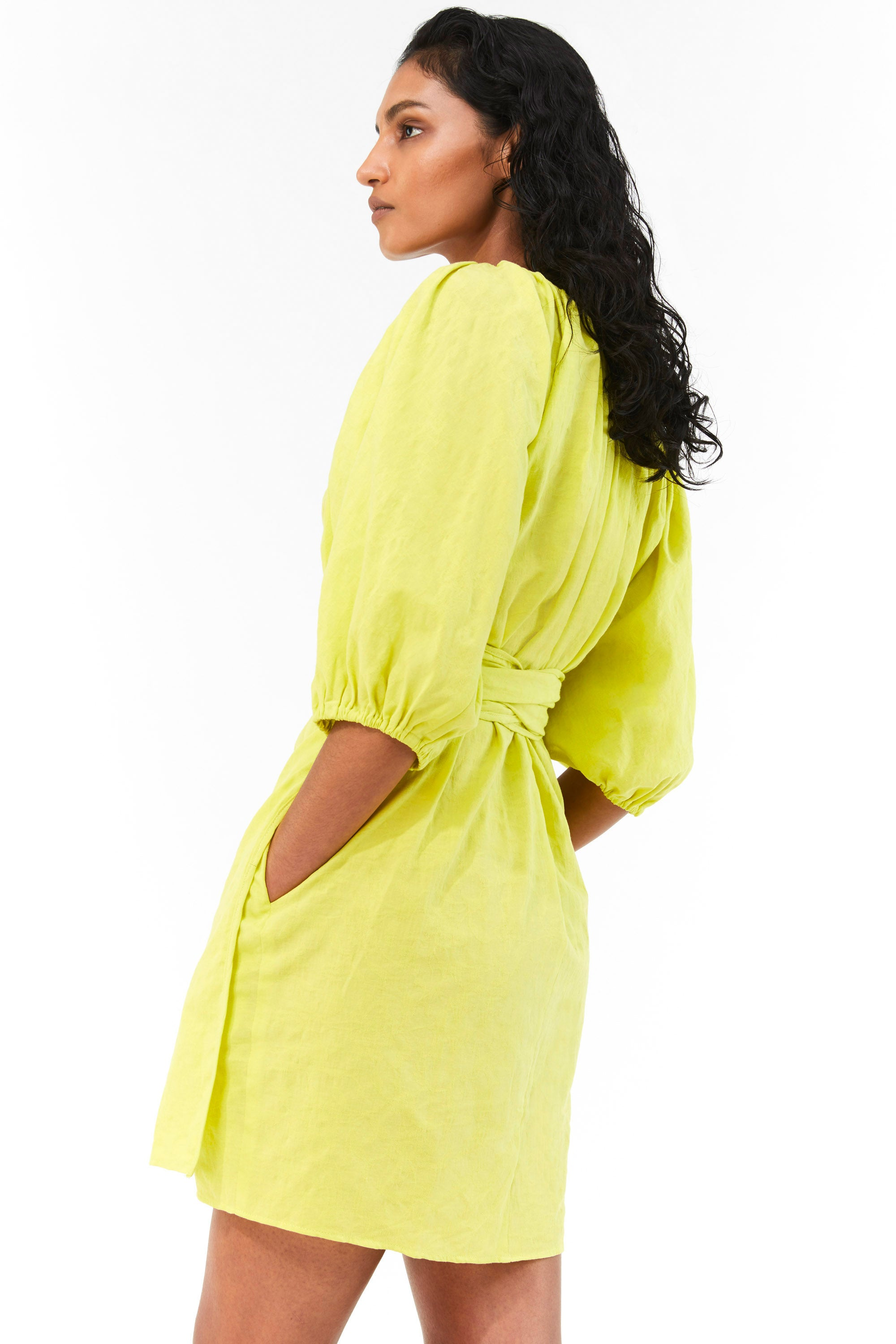 Mara Hoffman Neon Green Coletta Cover Up Dress in organic cotton and linen (back side detail, pocket)