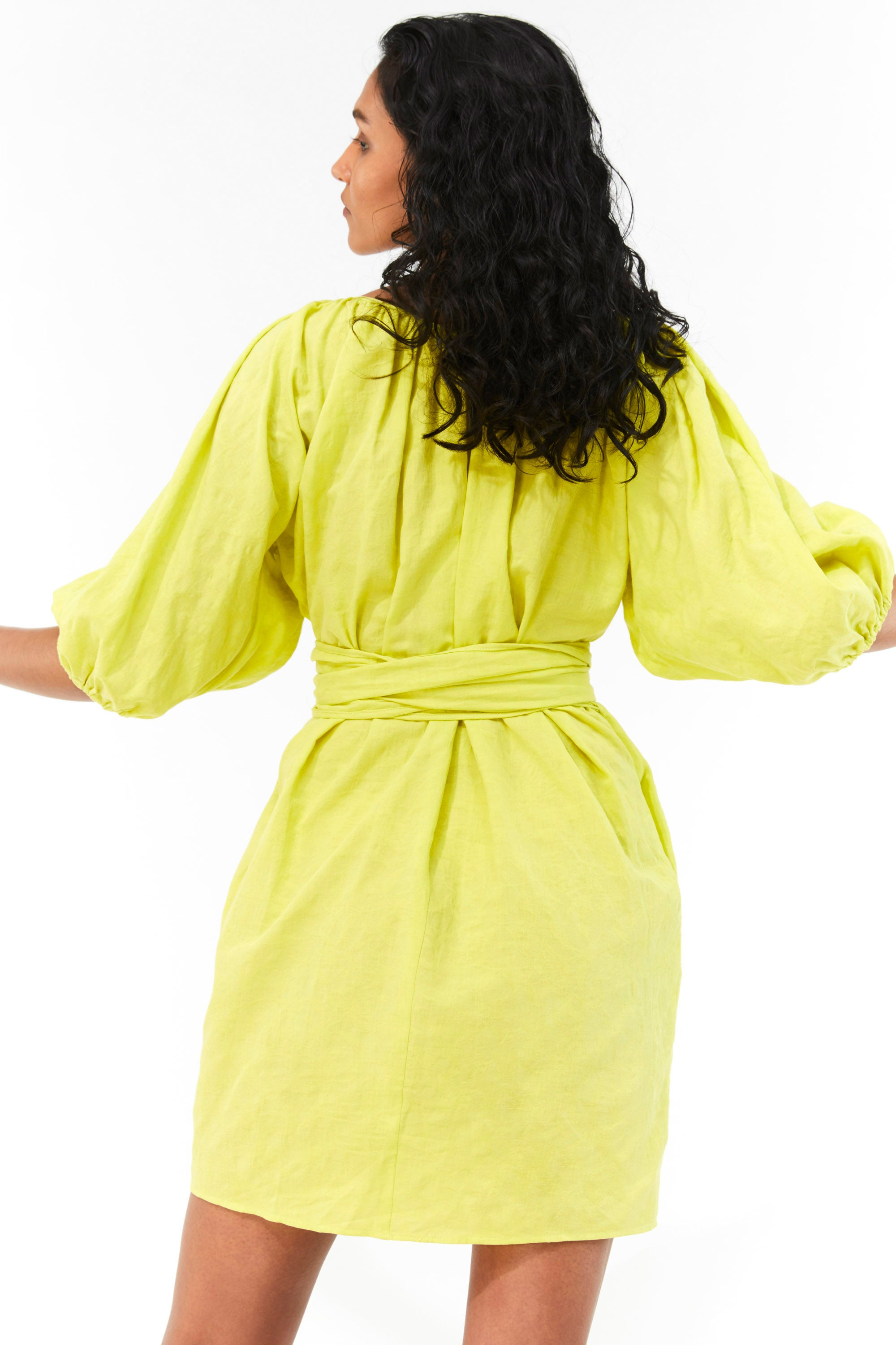 Mara Hoffman Neon Green Coletta Cover Up Dress in organic cotton and linen (back)