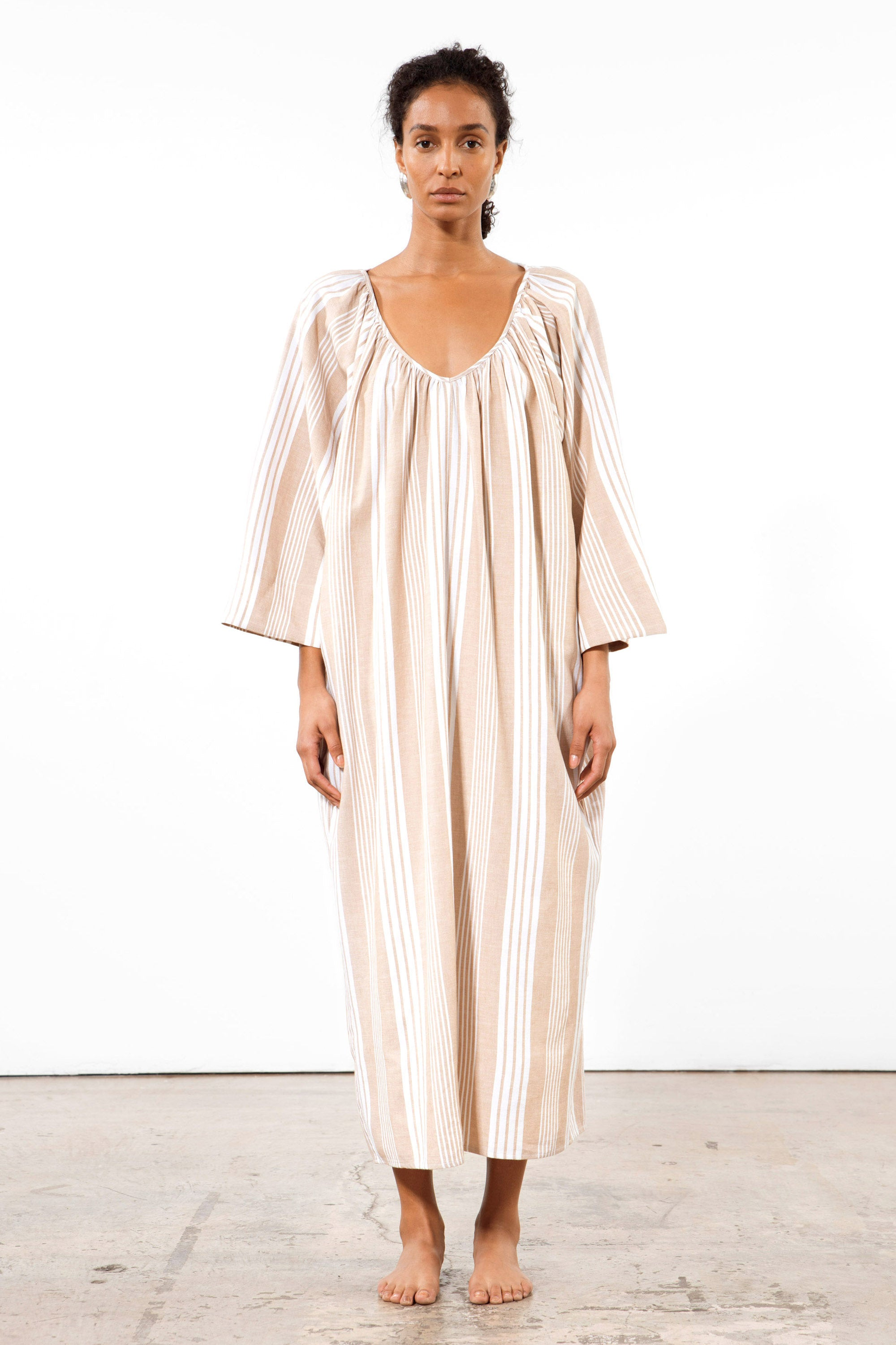 Mara Hoffman White Sand Luz Coverup Dress in Tencel Lyocell and organic cotton (front)