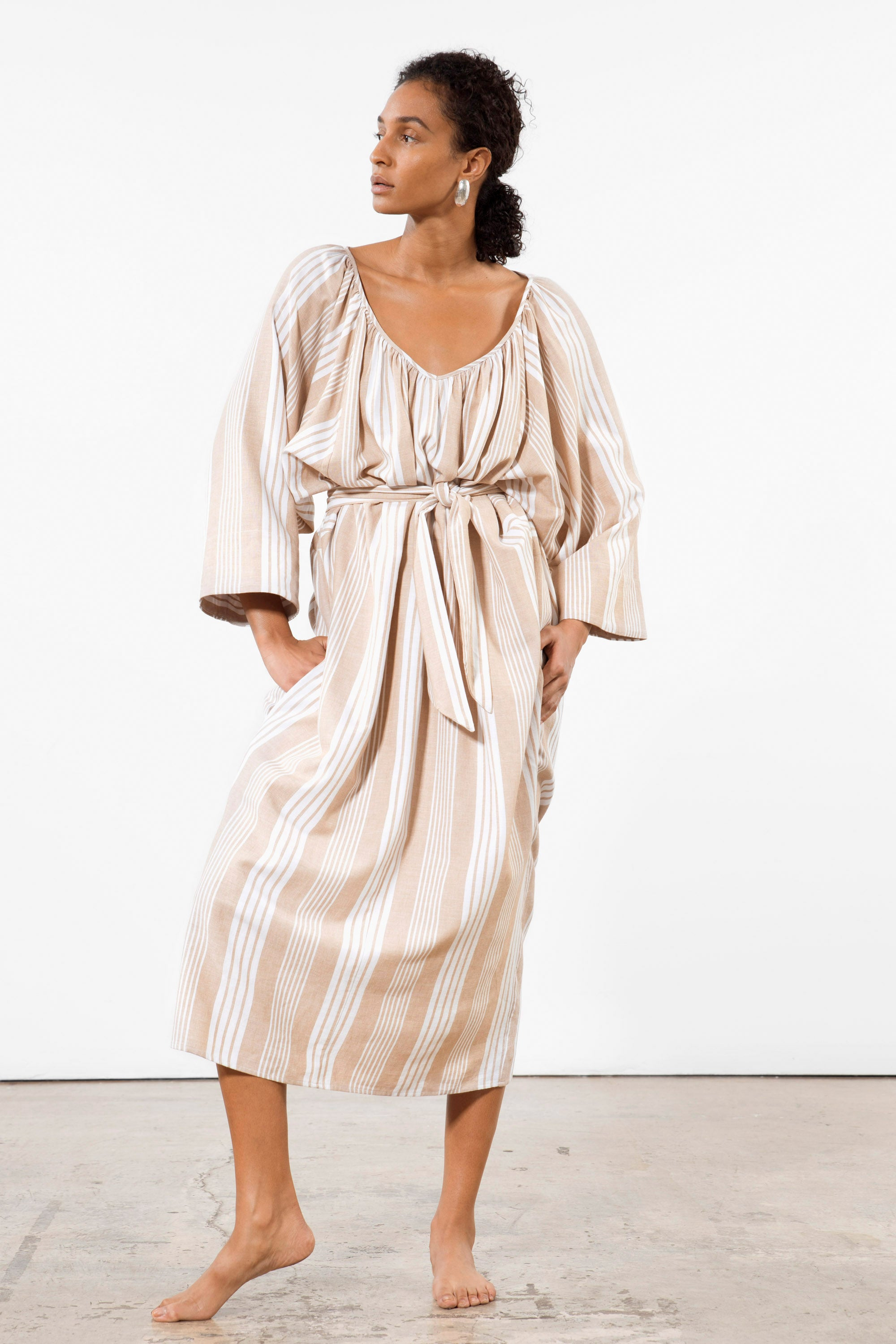 Mara Hoffman White Sand Luz Coverup Dress in Tencel Lyocell and organic cotton (belted)