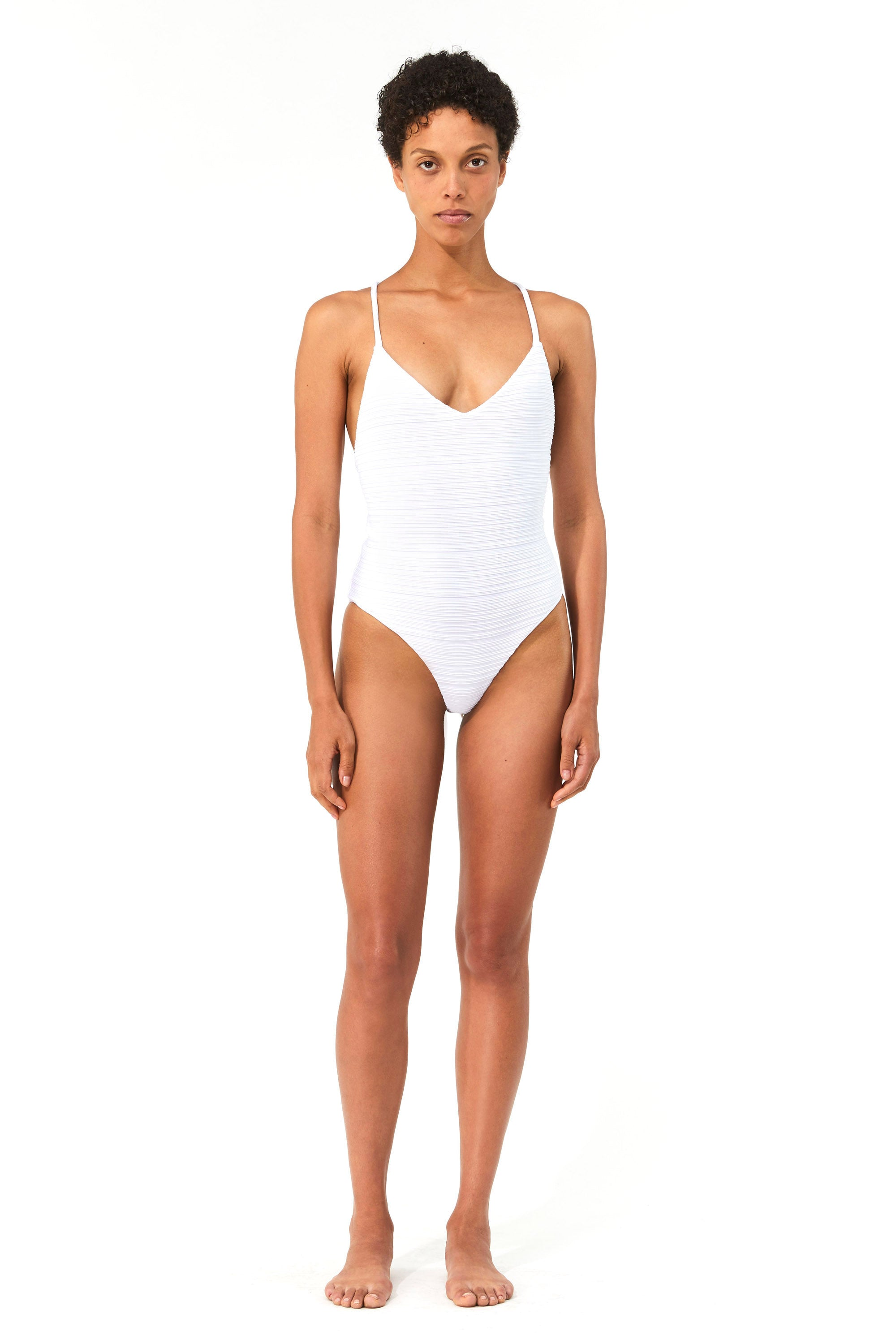 Mara Hoffman White Emma One Piece Bathing Suit in Repreve (front)